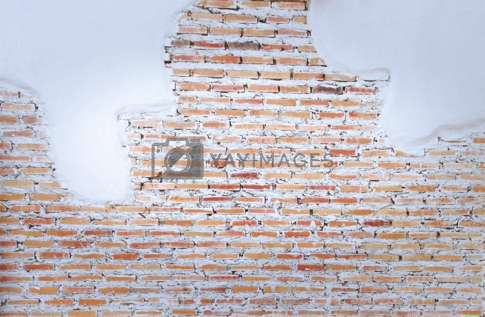 Empty old brick wall painted texture happy red-brown wall wide grunge brick wall shabby building with damaged plaster abstract web banner copy space.