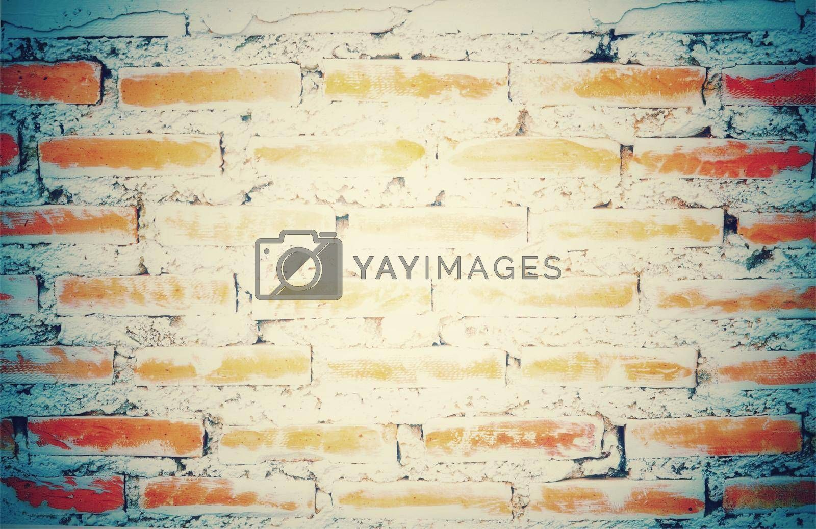 Vintage image old empty brick wall painted texture distressed red-brown wall wide grunge brick wall shabby building with damaged plaster abstract web banner copy space