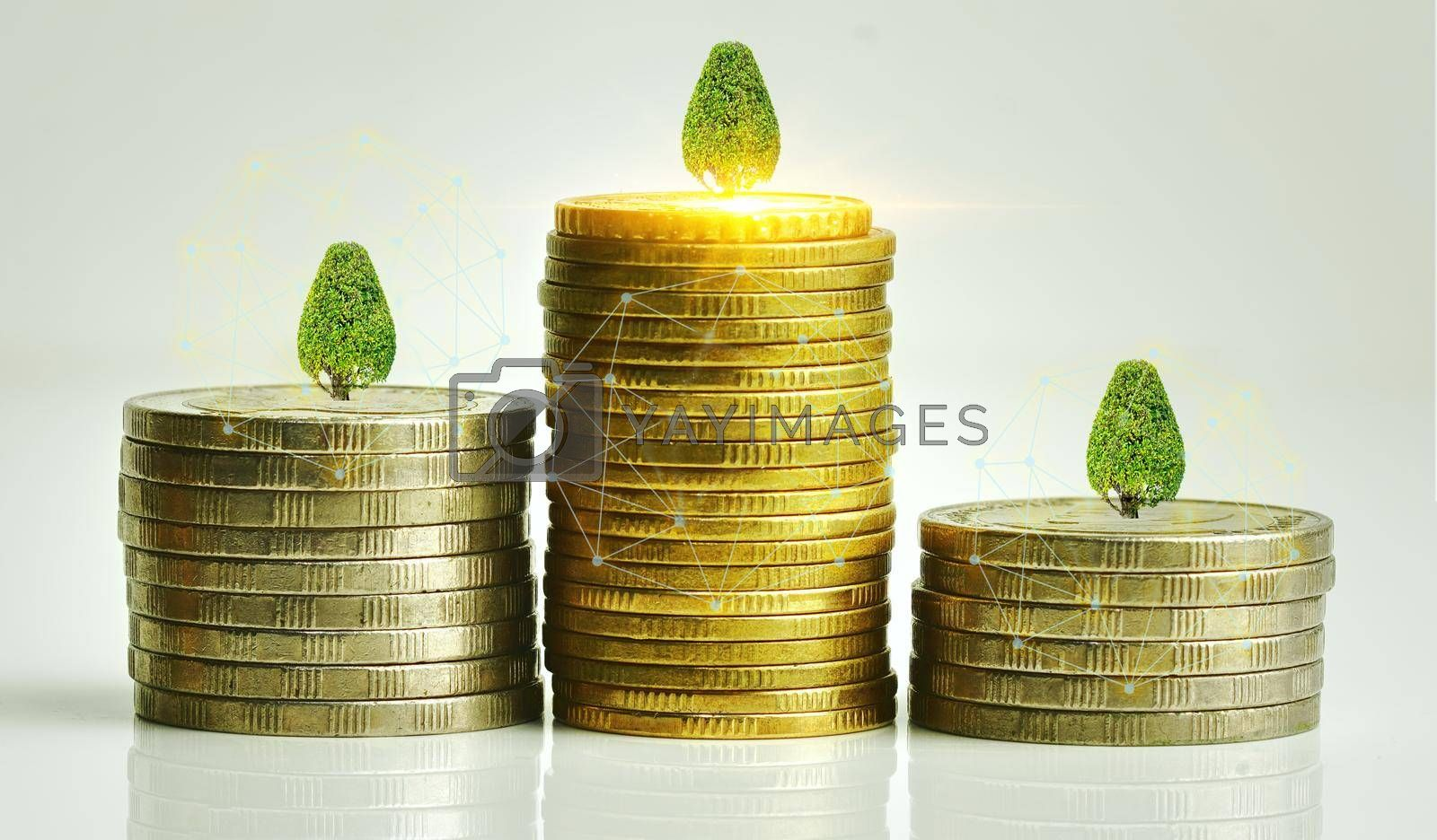 Abstract stacked coins Concept of economic growth Investment reports and financial valuation.