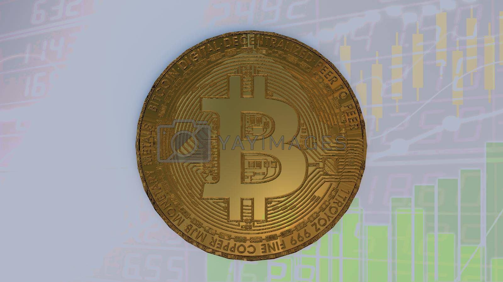 Bitcoin coin Stock market economy and finance concept 3D rendering