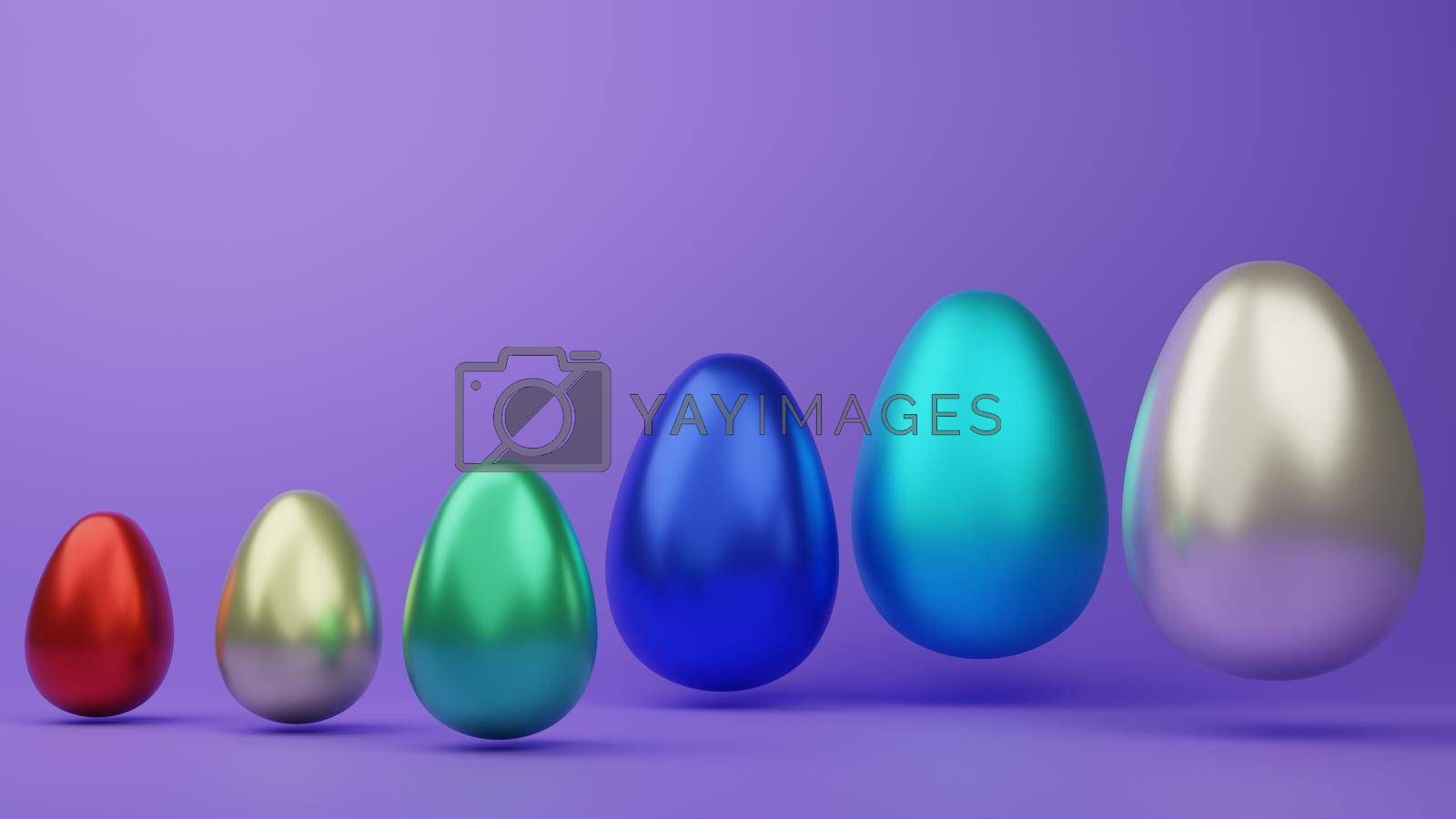 Abstract elegant colorful Easter eggs isolated on white during the festive season of Easter 3d rendering.
