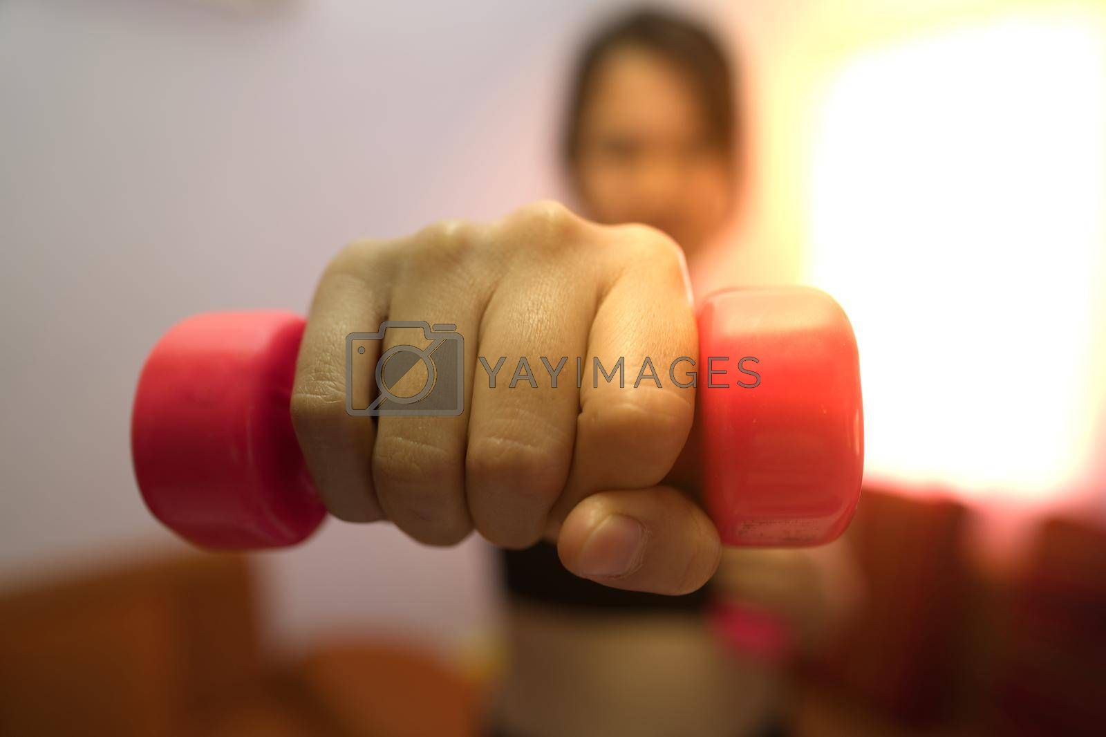 Asian women training to lift pink dumbbells for building muscle, the concept of staying healthy by weight loss and recreation at their residence.