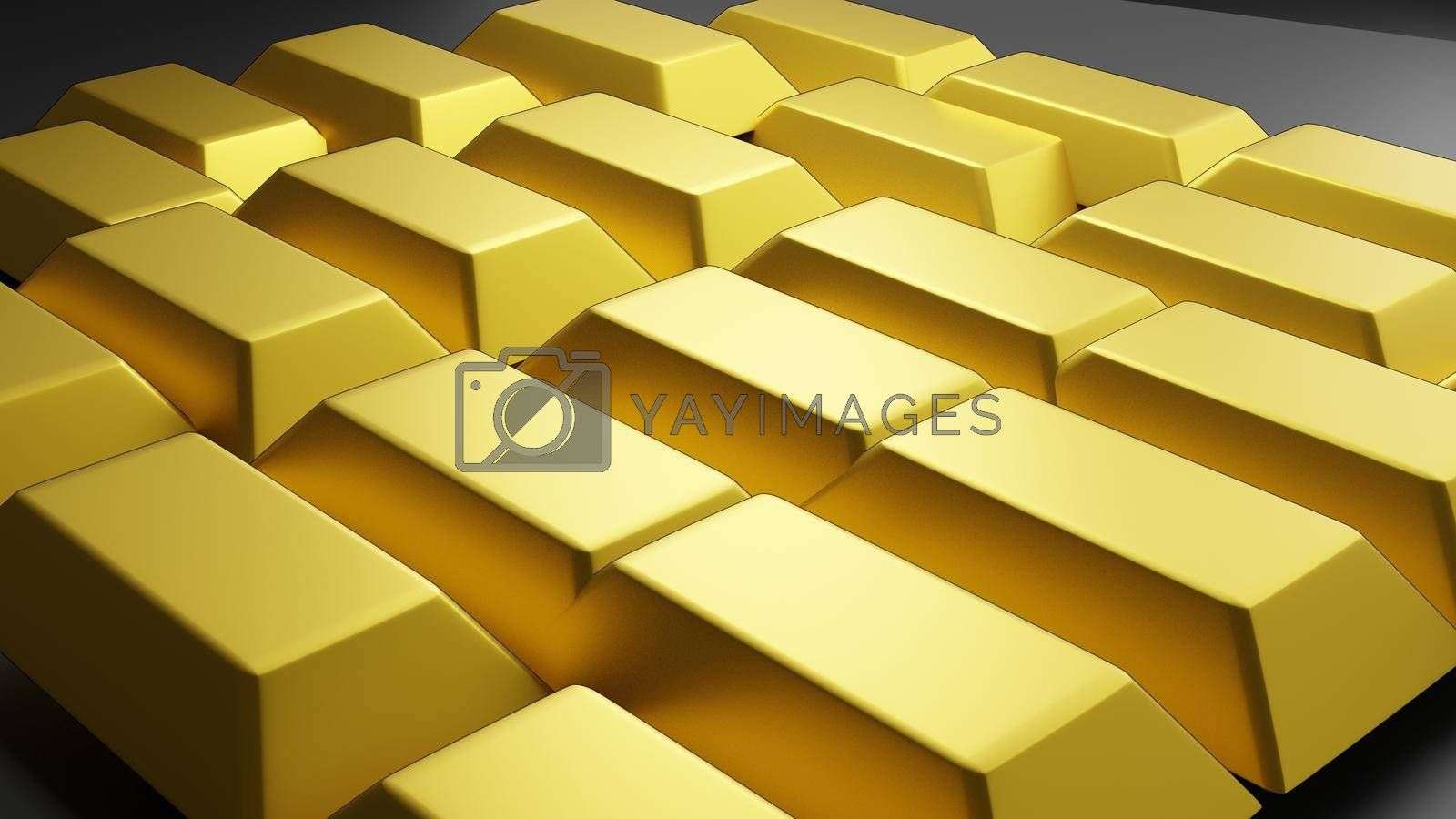 Simulated gold bar on black background, 3d rendering.