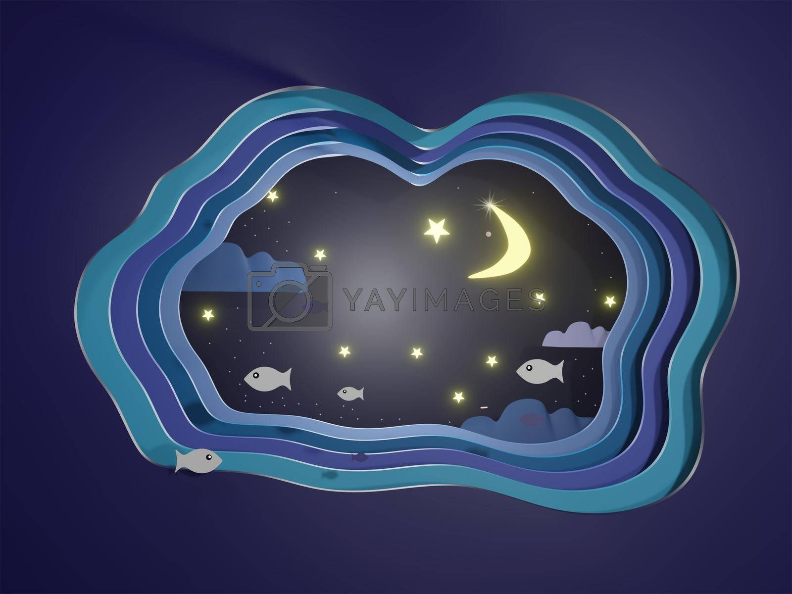 Abstract night sky with stars and fish swimming in the night modern 3d origami paper art style 3d rendering.