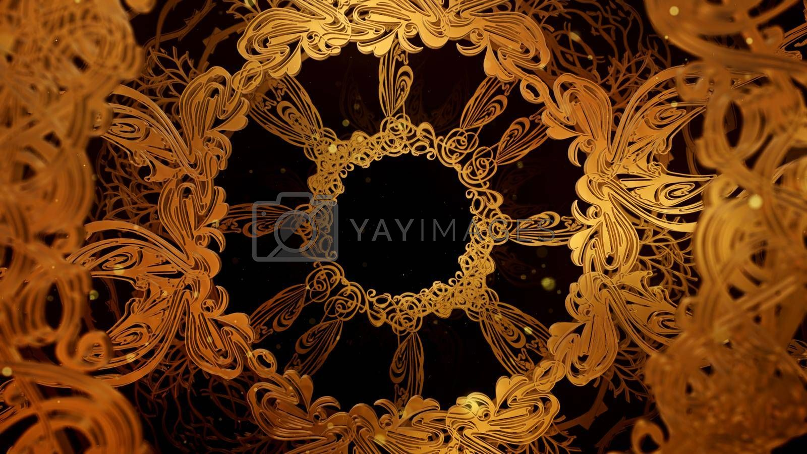 3D illustration Background for advertising and wallpaper in art nouveau frame vintage and fashion party scene. 3D rendering in decorative concept.