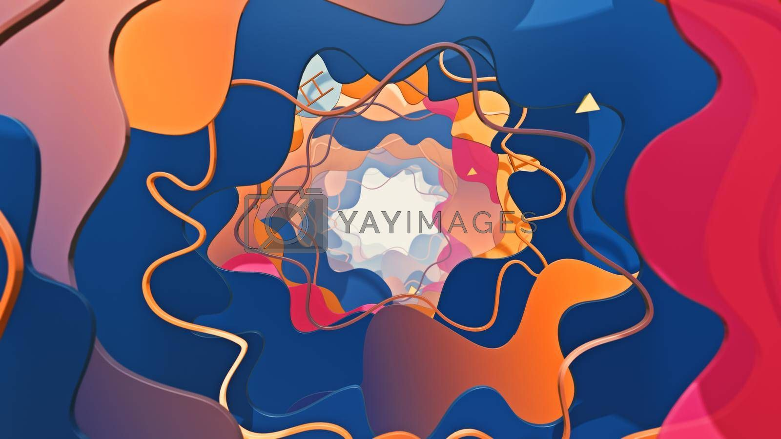 3D illustration Background for advertising and wallpaper in flat art style and abstract scene. 3D rendering in decorative concept