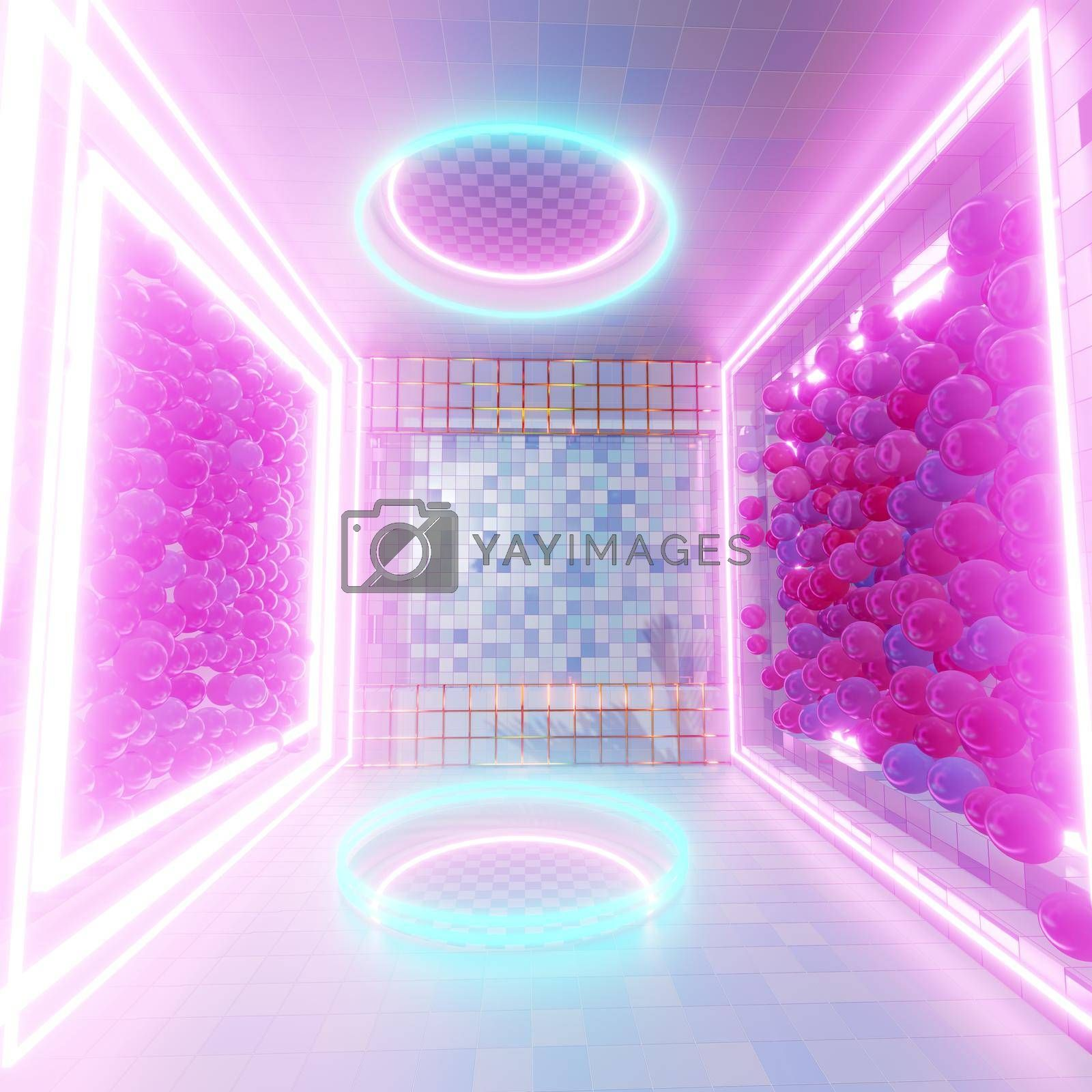 3D illustration Background for advertising and wallpaper in 90s retro and sci fi pop art scene. 3D rendering in decorative concept.