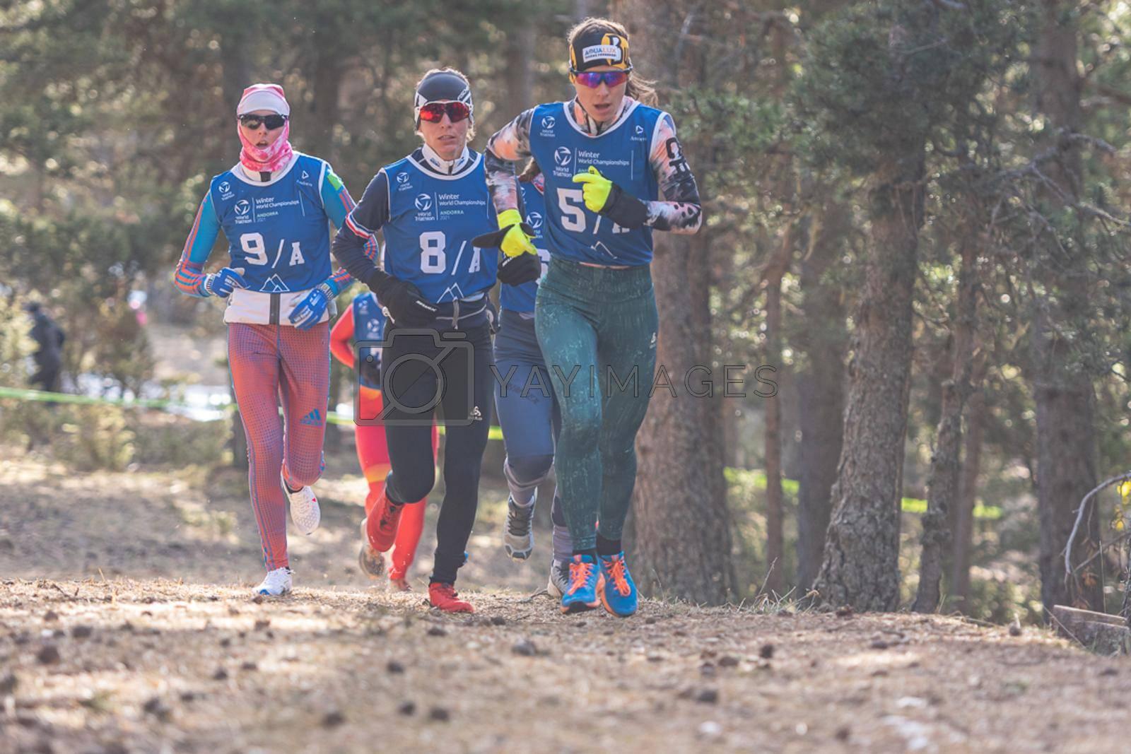 Naturlandia, Andorra : 2021 March 21 : Athletes at the start in the 2021 World Triathlon Winter Championships Andorra