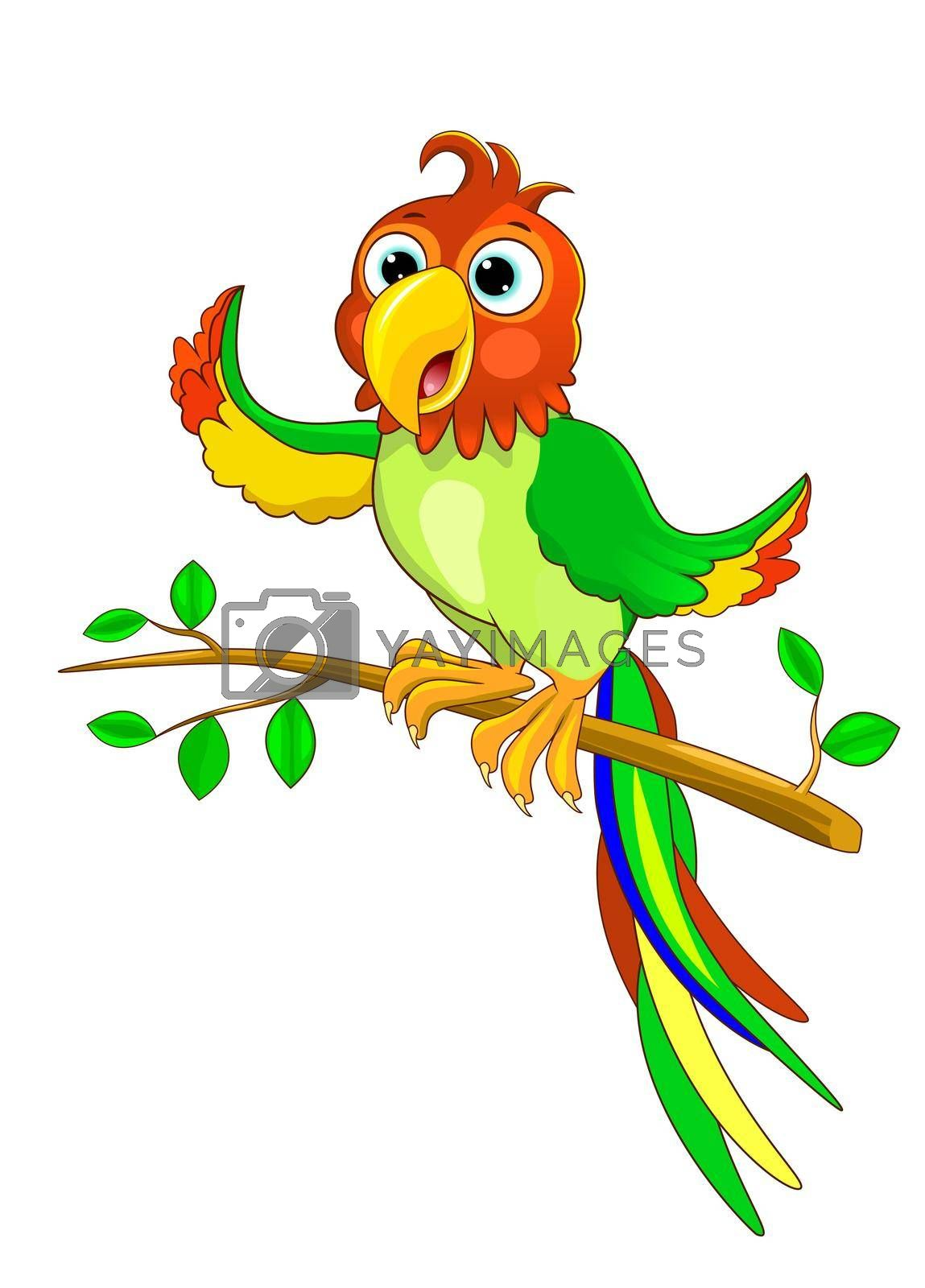 Royalty free image of Parrot sits on a tree branch by liolle