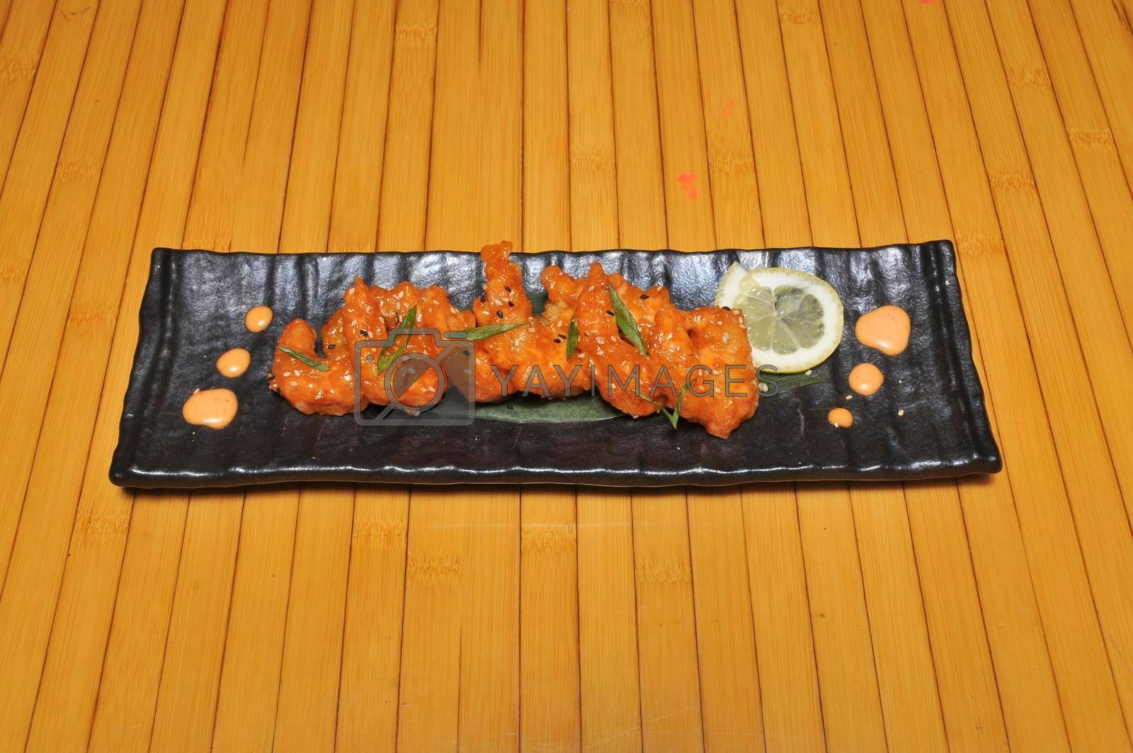 Delicious Japanese food known as volcano shrimp