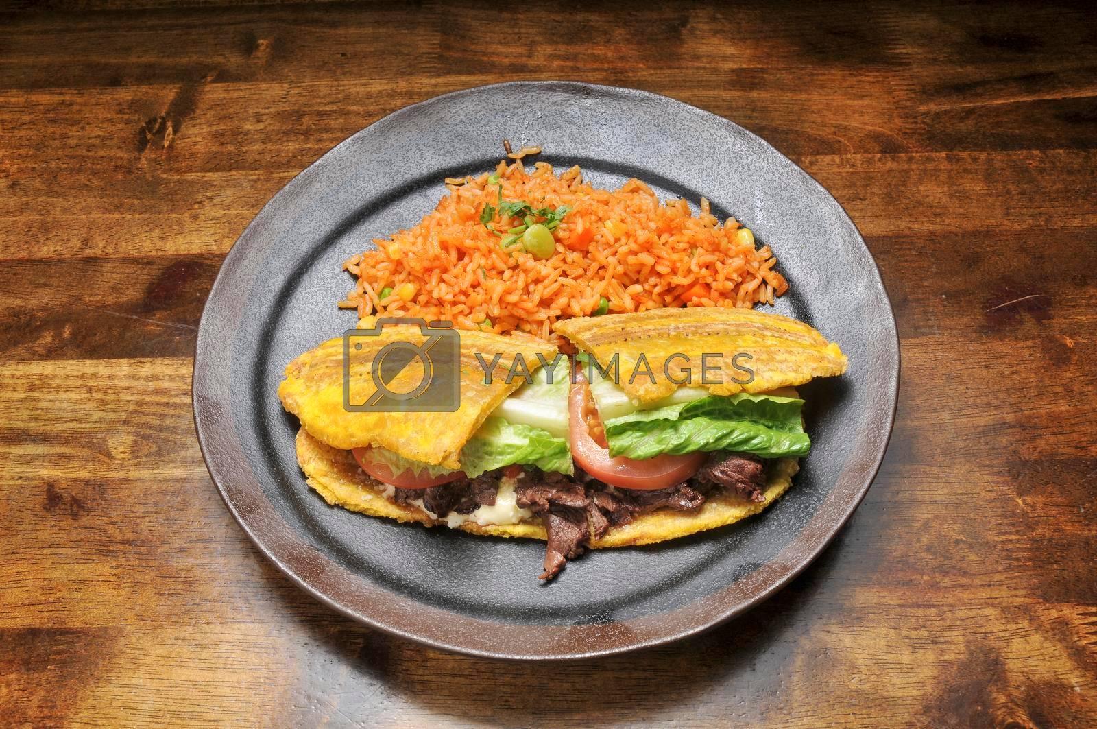 Delicious caribbean dish known as steak plantain