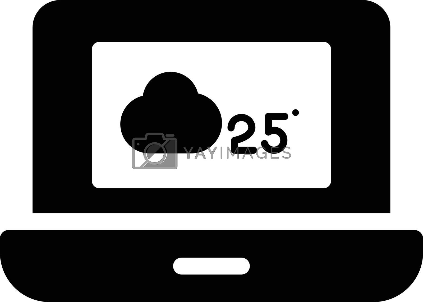 laptop weather vector glyph flat icon