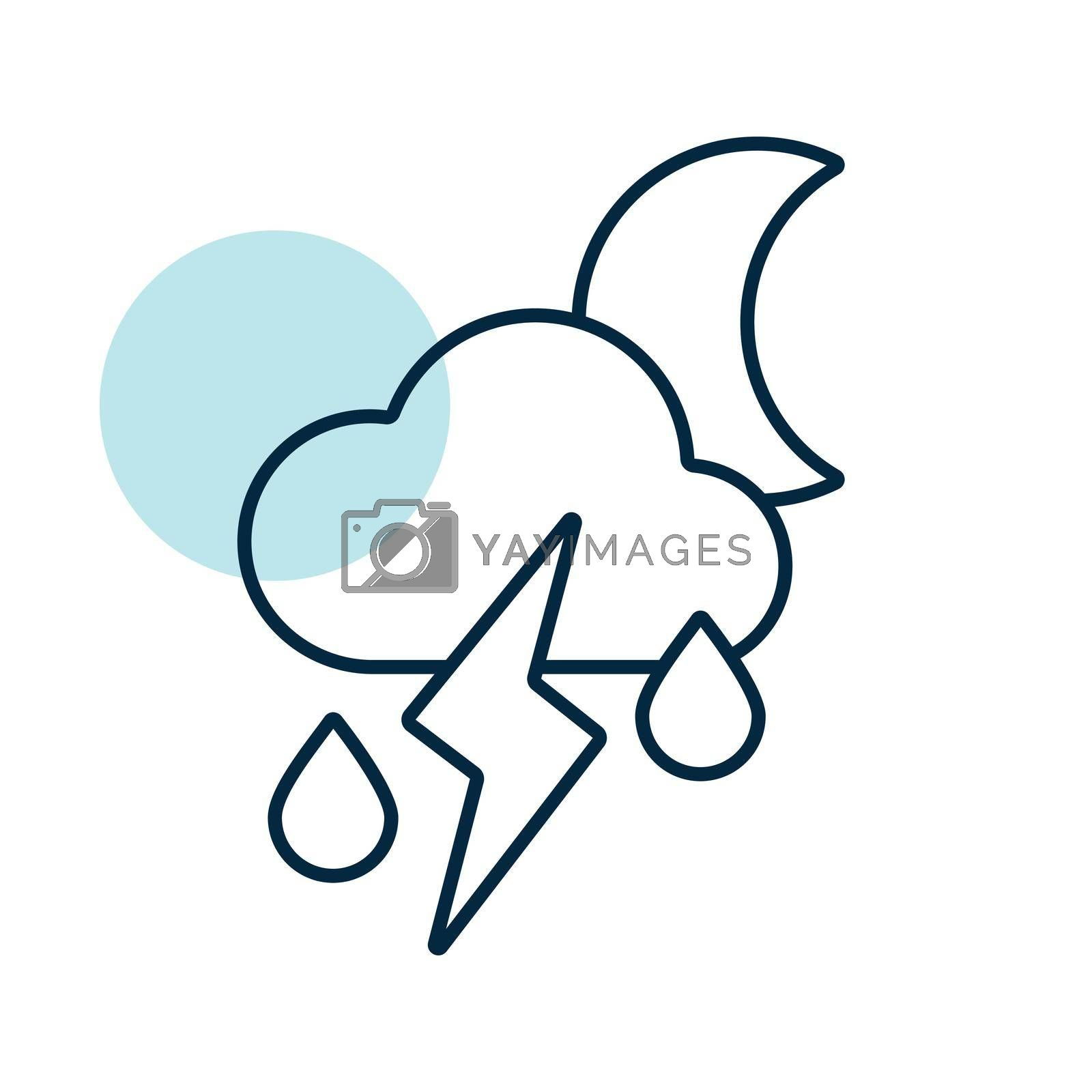 Moon cloud with fall rain and lightning vector icon. Meteorology sign. Graph symbol for travel, tourism and weather web site and apps logo, app, UI