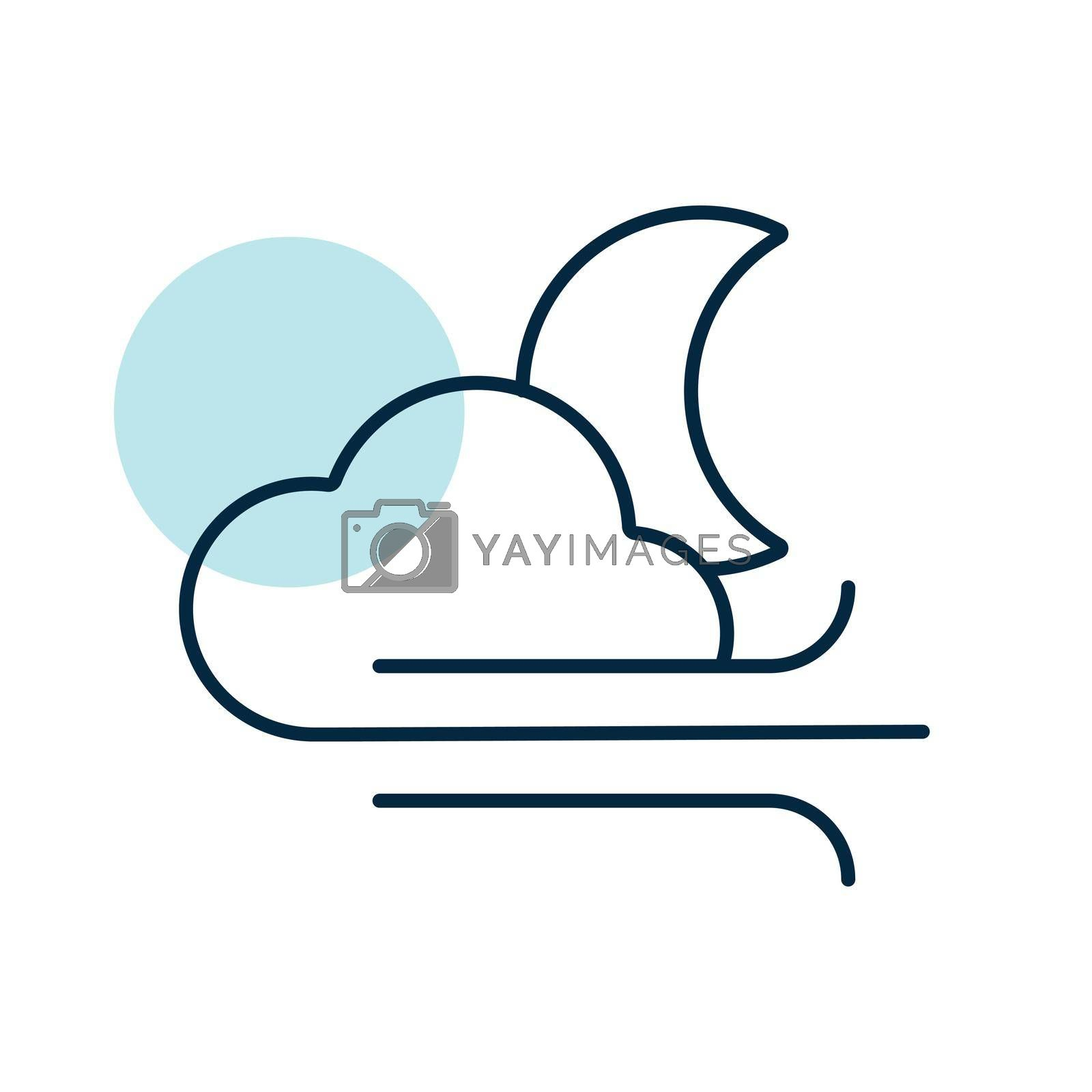 Moon cloudy and wind vector icon. Meteorology sign. Graph symbol for travel, tourism and weather web site and apps design, logo, app, UI
