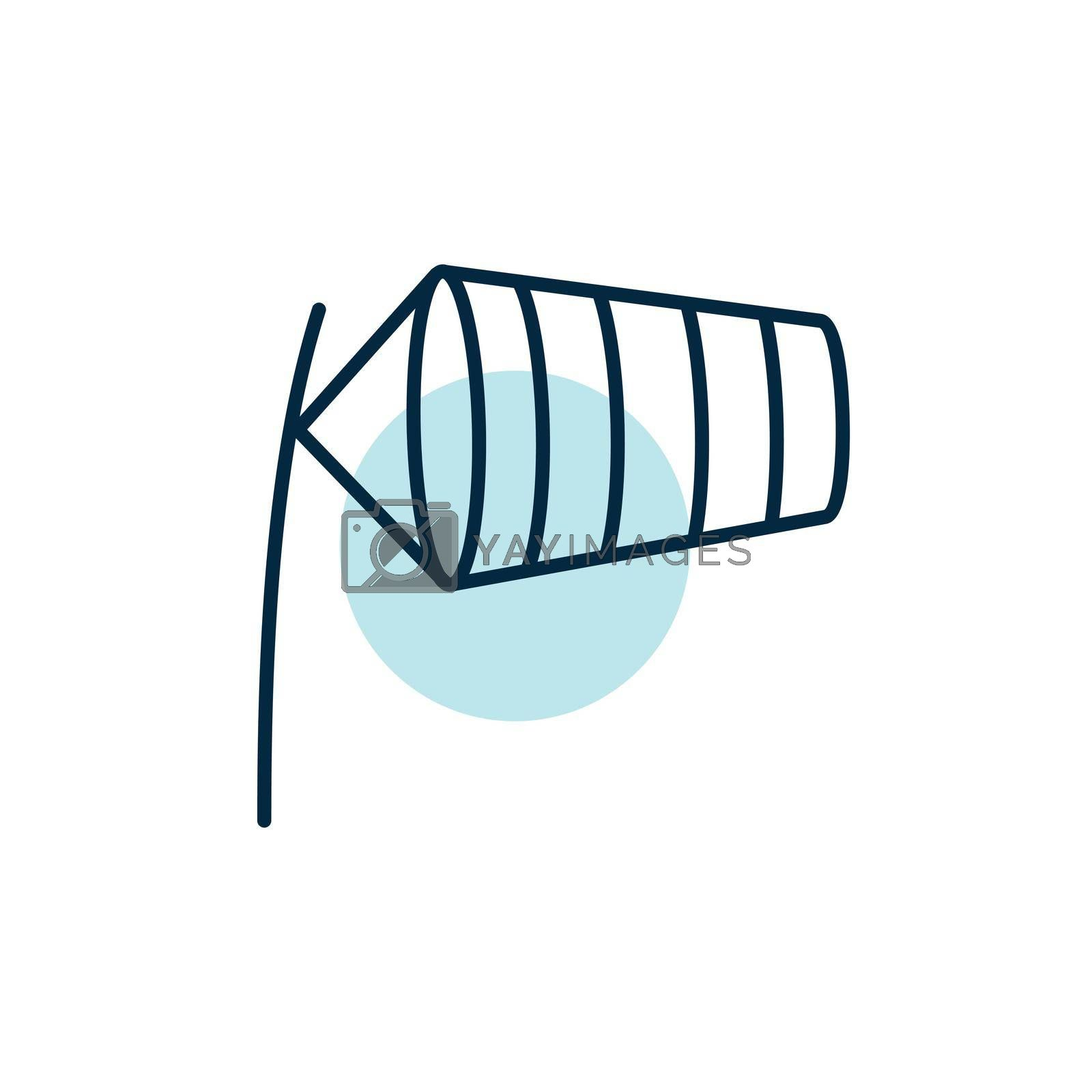 Windsocks inflated by wind at the airport runway vector icon. Meteorology sign. Graph symbol for travel, tourism and weather web site and apps, UI