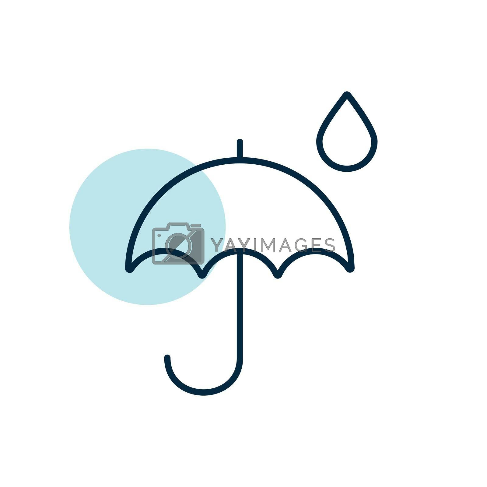 Umbrella and rain drops vector icon. Meteorology sign. Graph symbol for travel, tourism and weather web site and apps design, logo, app, UI
