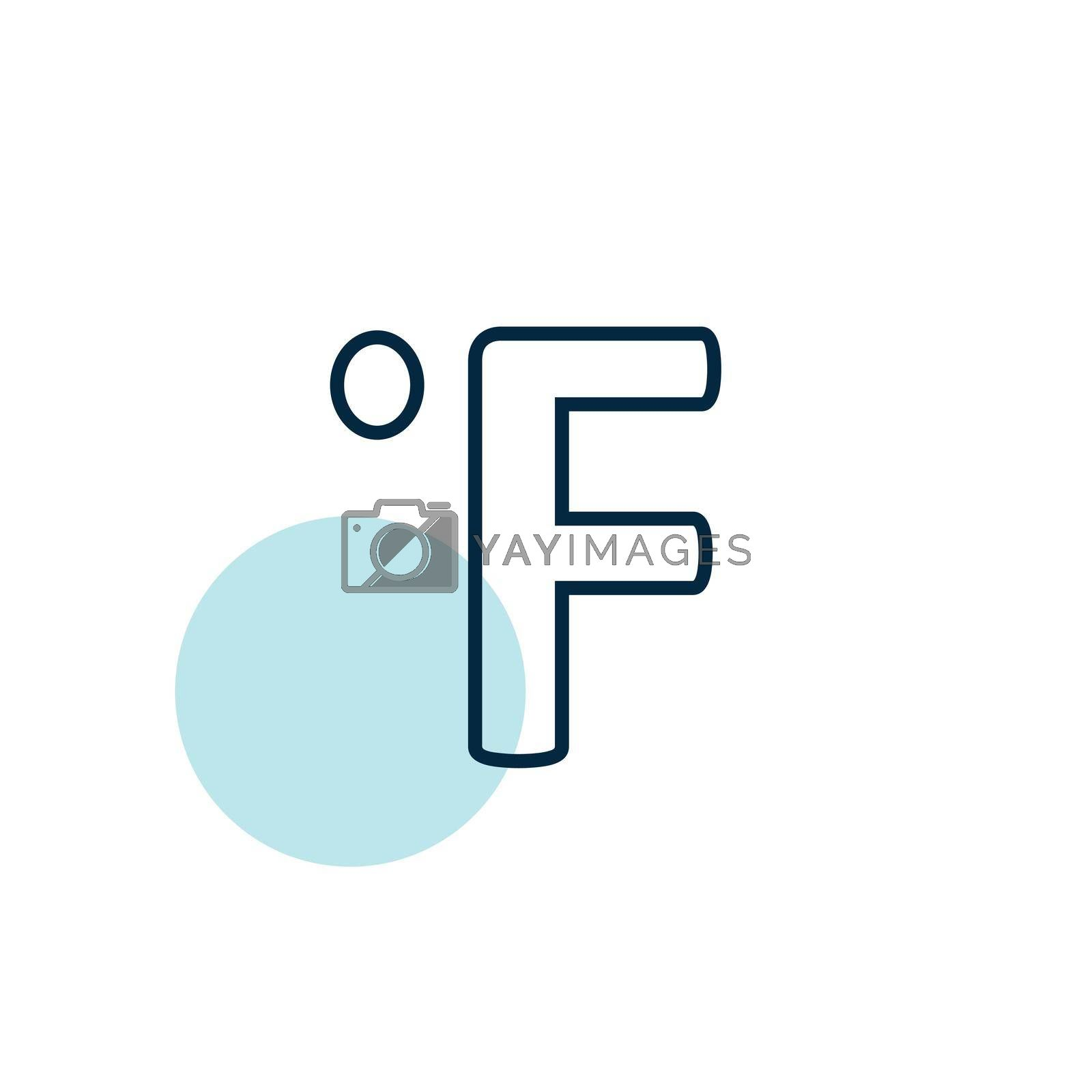 Fahrenheit degrees vector icon. Meteorology sign. Graph symbol for travel, tourism and weather web site and apps design, logo, app, UI