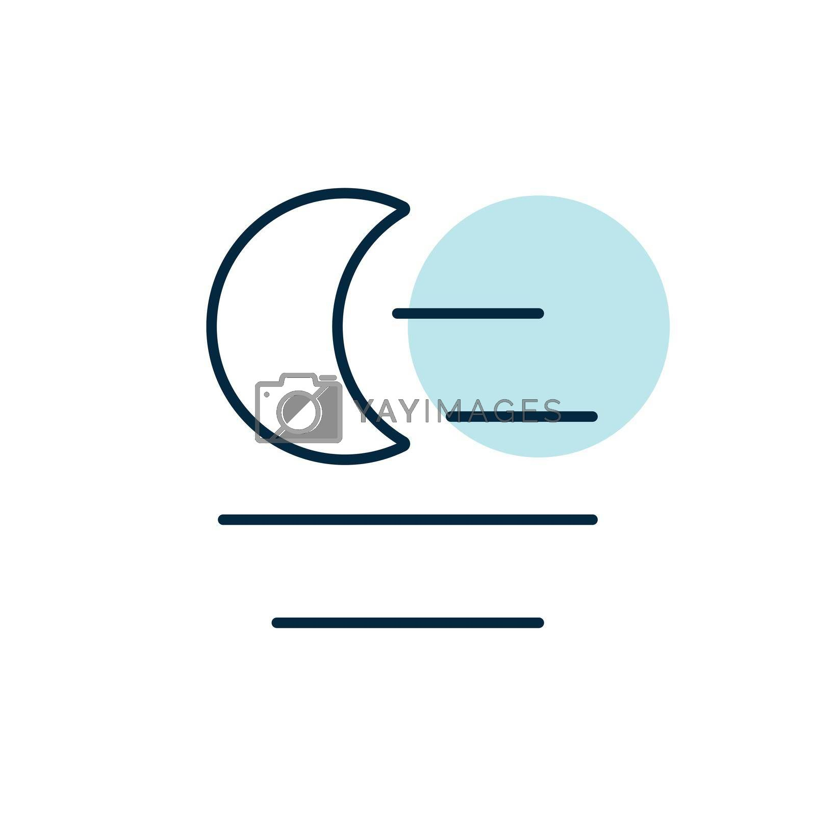 Fog night vector icon. Meteorology sign. Graph symbol for travel, tourism and weather web site and apps design, logo, app, UI