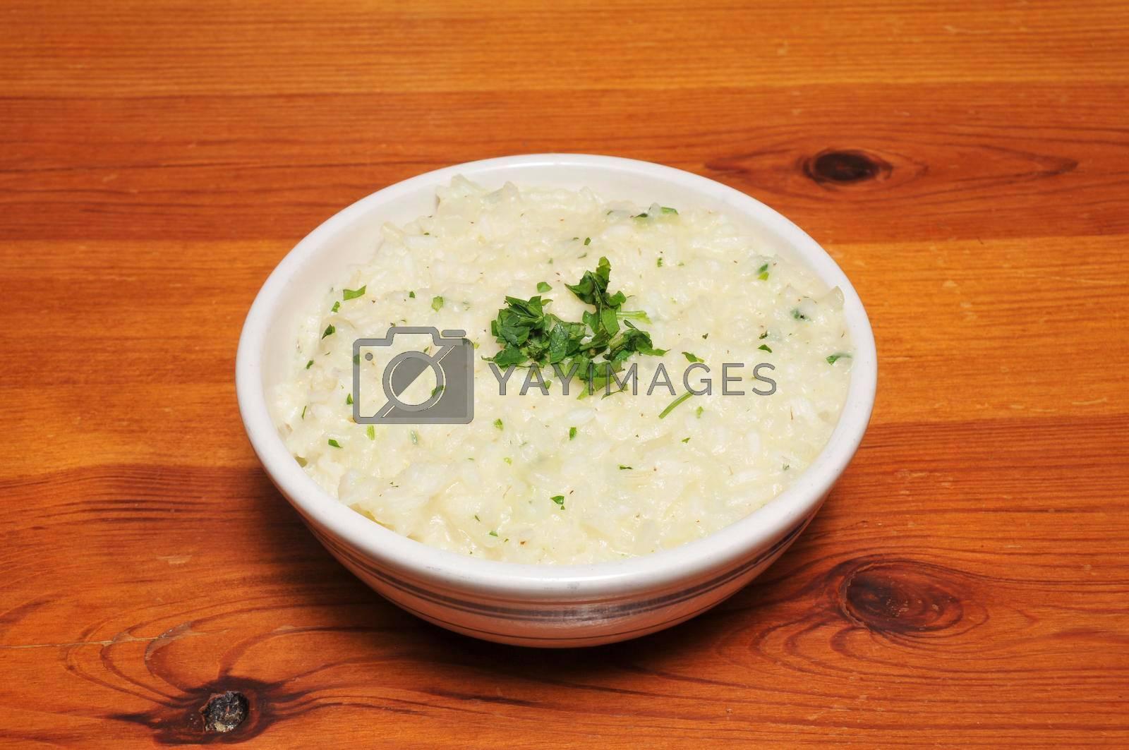 Delicious Italian dish known as parmesan risotto