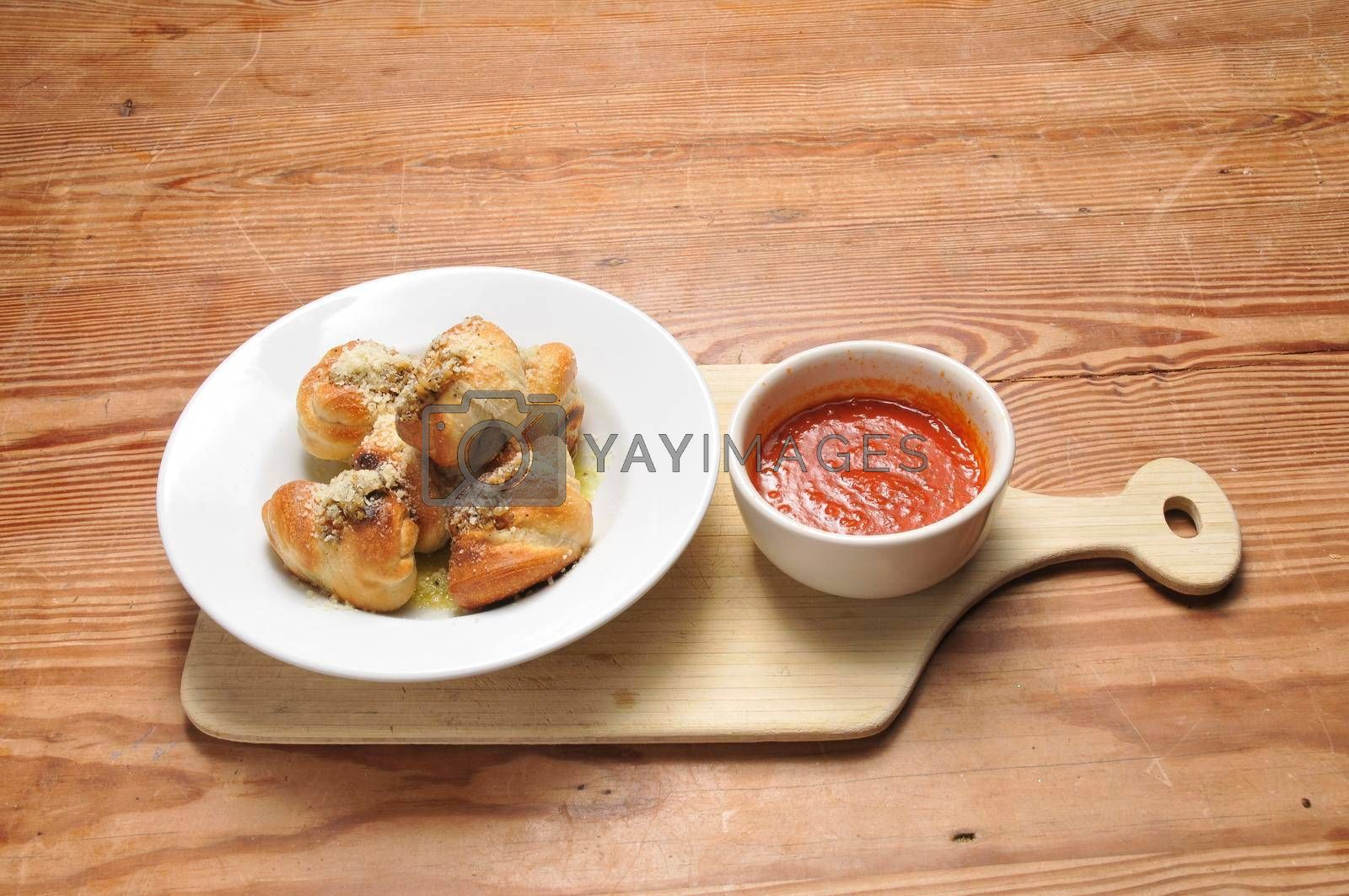 Authentic Italian cuisine known as garlic knots