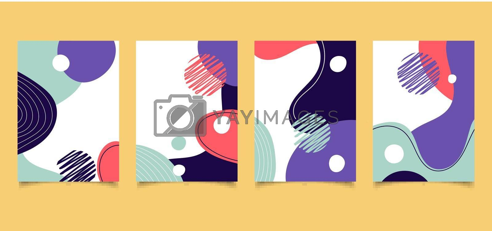 Set of creative cover brochure design colorful liquid shape pattern with lines on white background space for your text. Social media banner template. Mockup for stories, post, blog, promotion, etc. Vector illustration