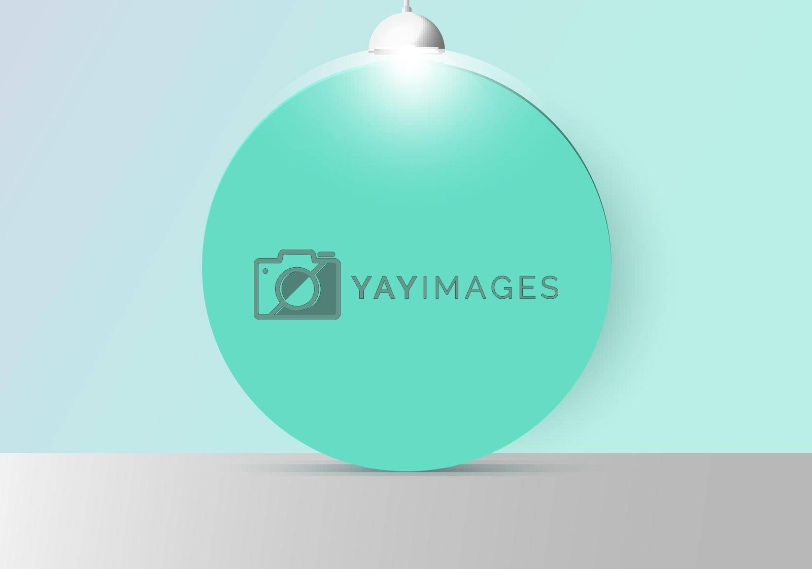 3D realistic empty studio room with green circle backdrop and lamp on soft green mint background and circle backdrop. Vector illustration