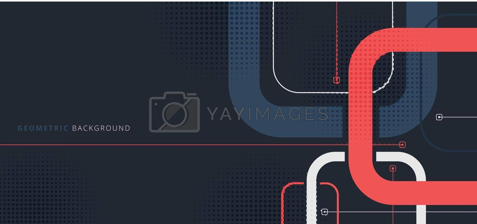 Banner web template design rounded squares geometric blue and red on black background with space for your text. Vector illustration