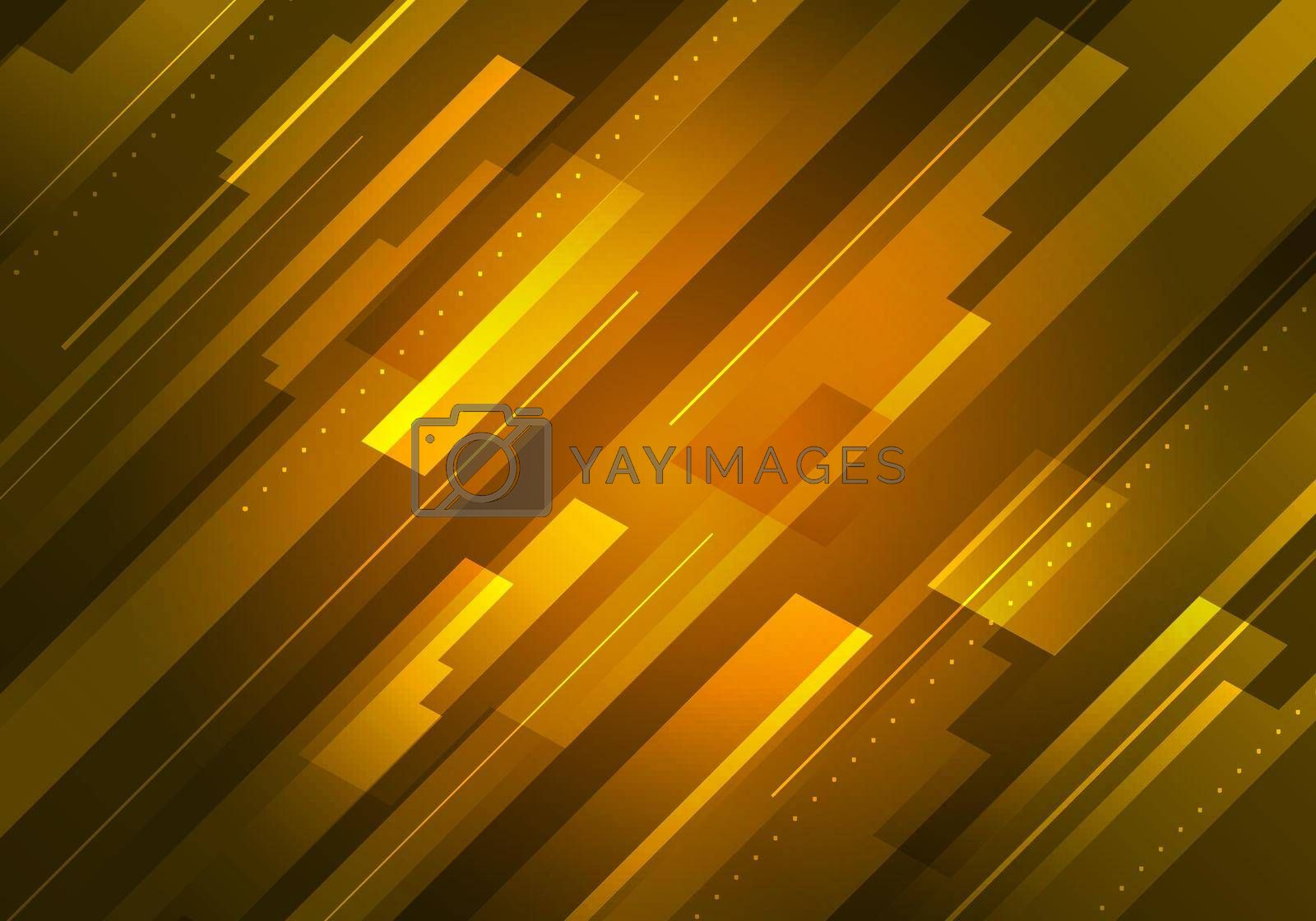 Abstract technology futuristic concept yellow glowing diagonal stripes layered on dark background. Vector illustration