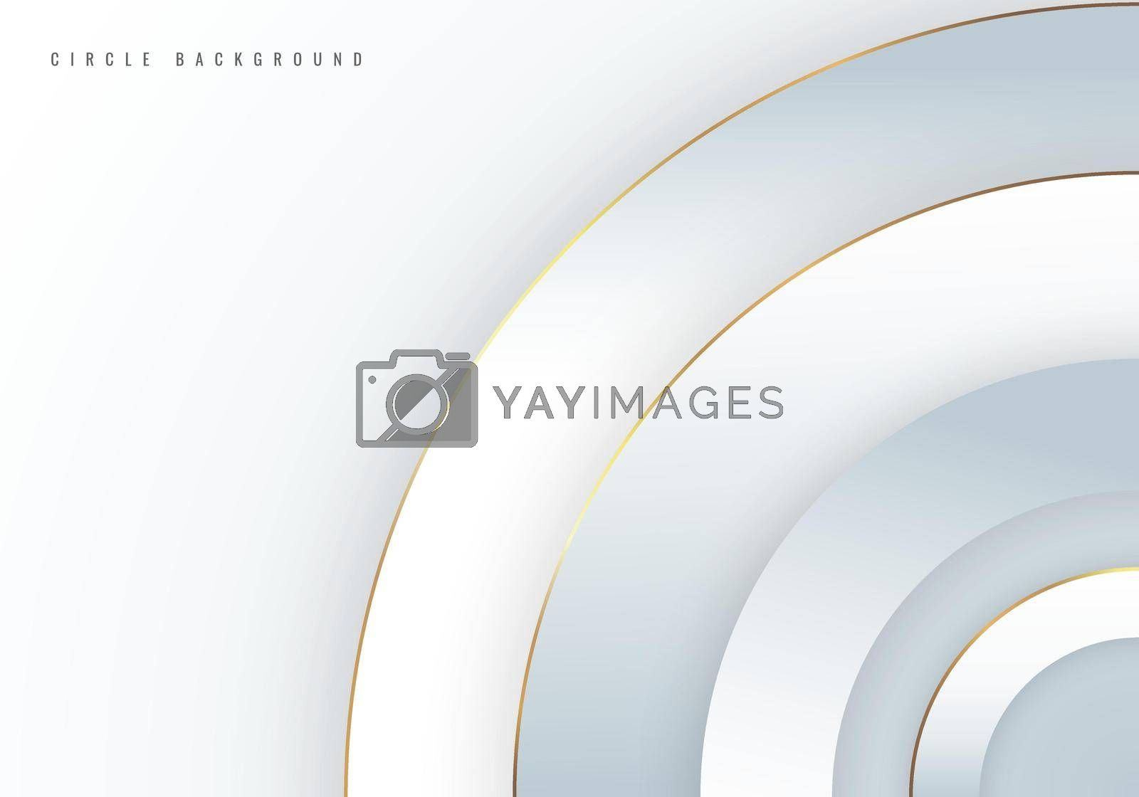 Abstract background 3D white circles overlapping layered with golden border line. Luxury style. Vector illustration