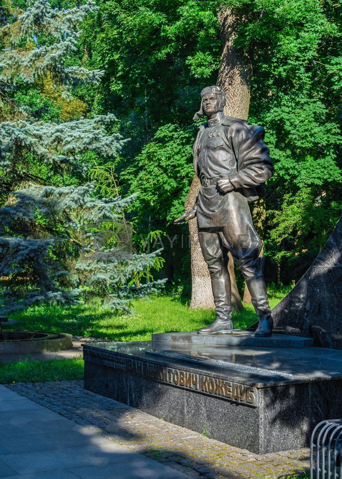 Kyiv, Ukraine 07.11.2020.  Monument to Ivan Kozhedub in the Park of Eternal Glory in Kyiv, Ukraine, on a sunny summer morning