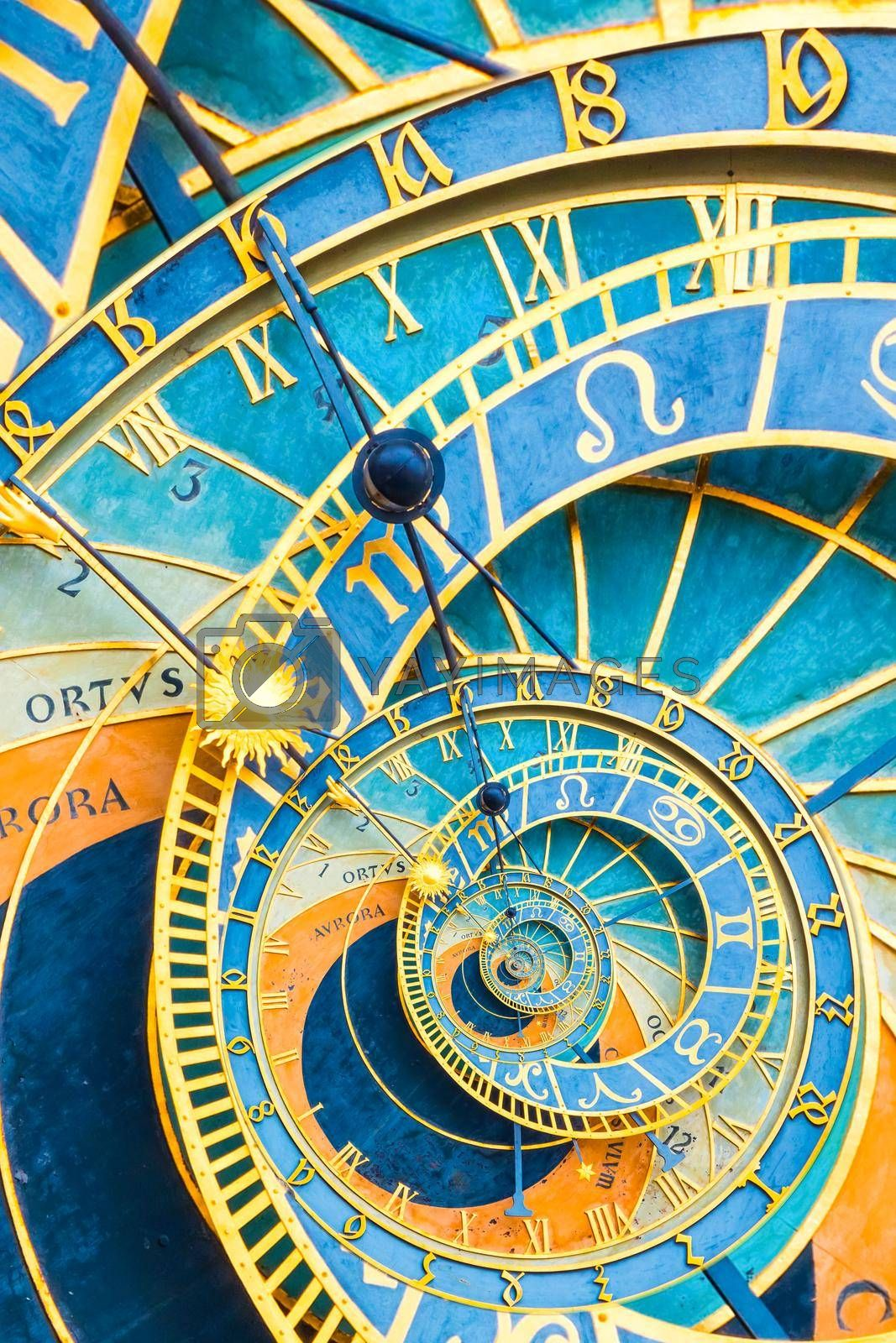Droste effect background based on Prague astronimical clock. Abstract design for concepts related to astrology, fantasy, time and magic.