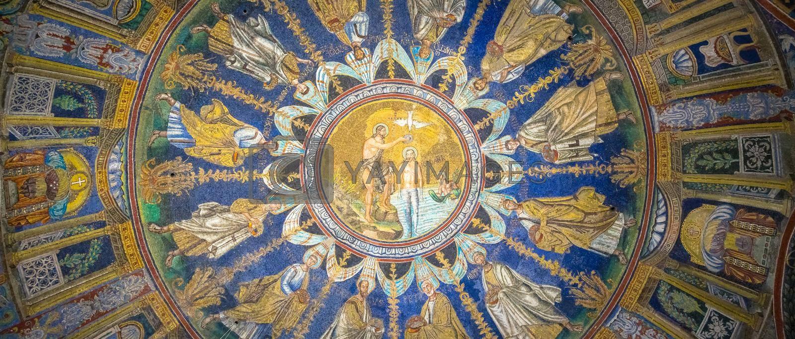 RAVENNA, ITALY - CIRCA AUGUST 2020: historic byzantine mosaic in Saint Vitale Basilica