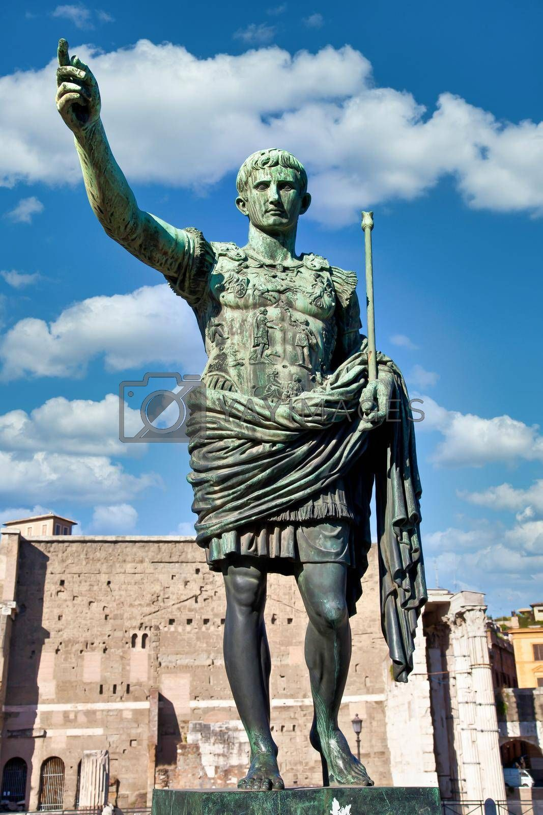 Italy, Rome. Statue in a public street of the roman emperor Gaius Julius Caesar. Concept for authority, domination, leadership and guidance.
