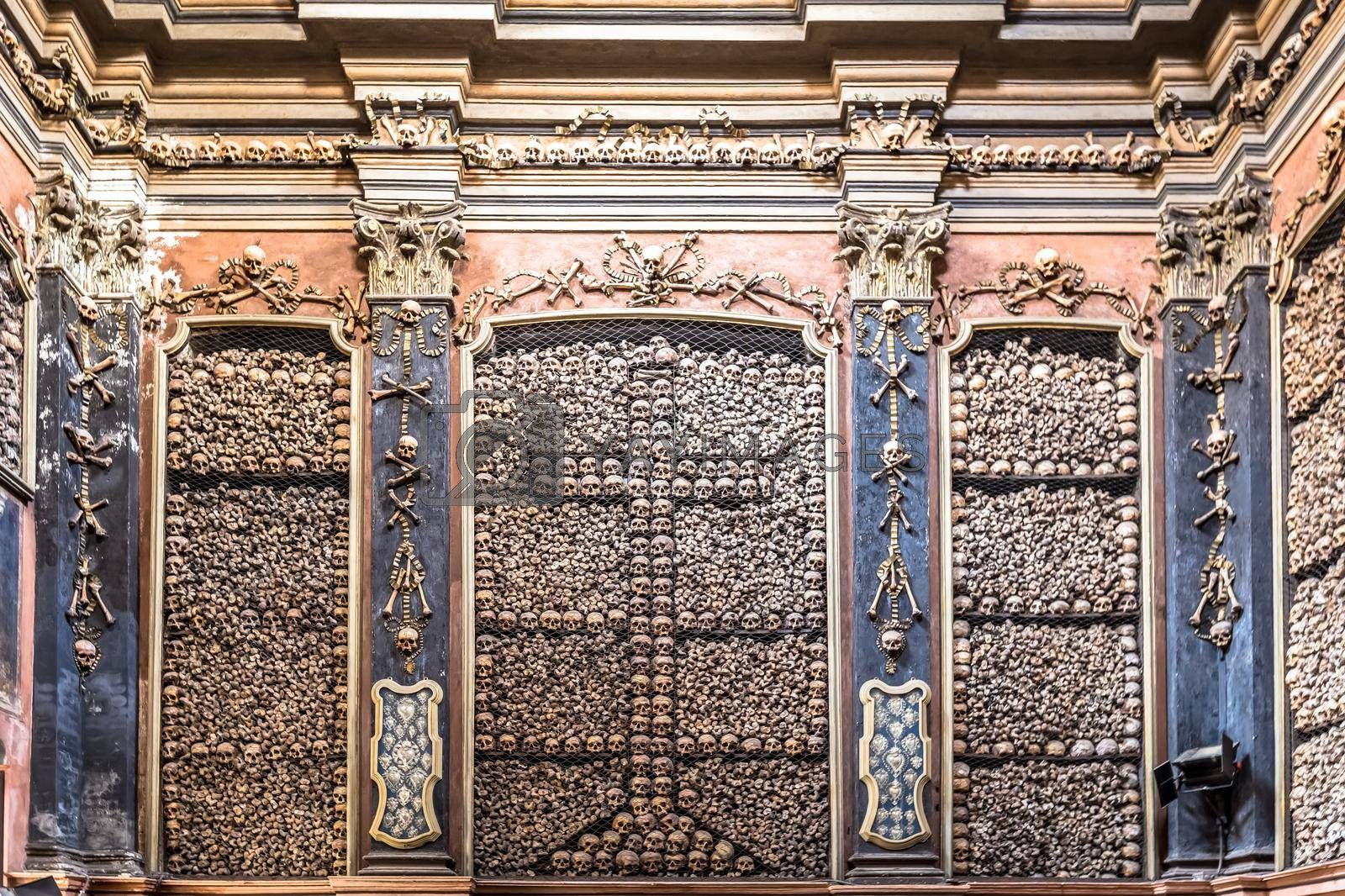 Milan, Italy - Circa August 2020. Ossuary Chapel in San Bernardino alle Ossa Church. Every architectural detail is clad in human bones.