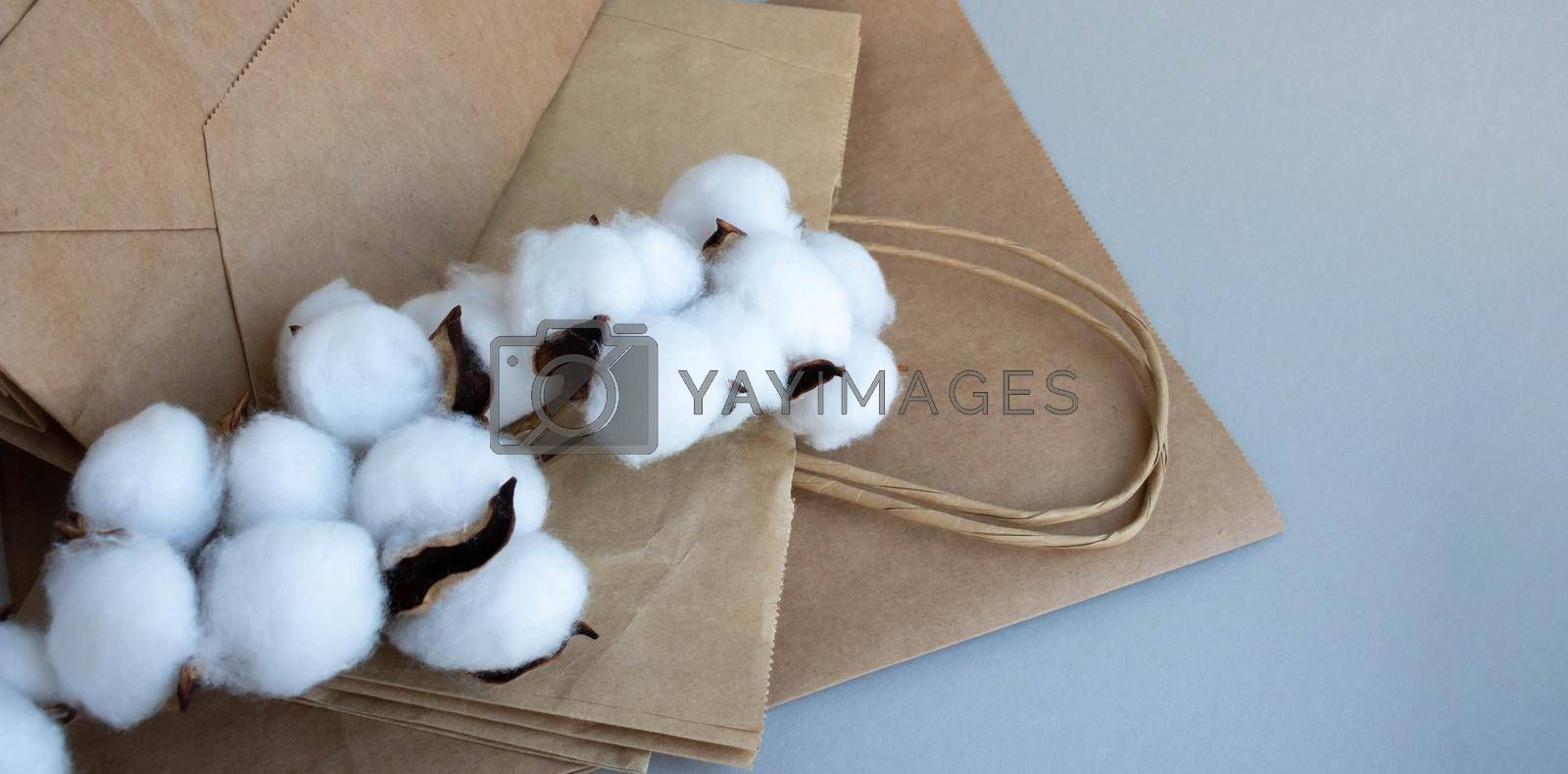 Organic eco-friendly paper bag with cotton flowers on a gray background. Zero waste and eco-friendly concept.