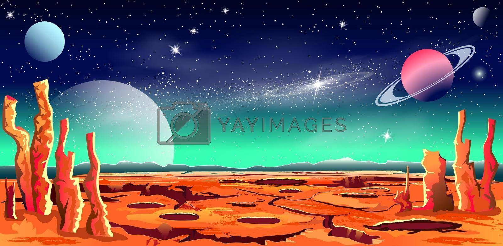Royalty free image of Space red planet star galaxy by liolle