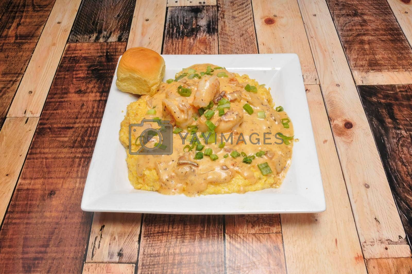 Delicious American cuisine known as shrimp and grits