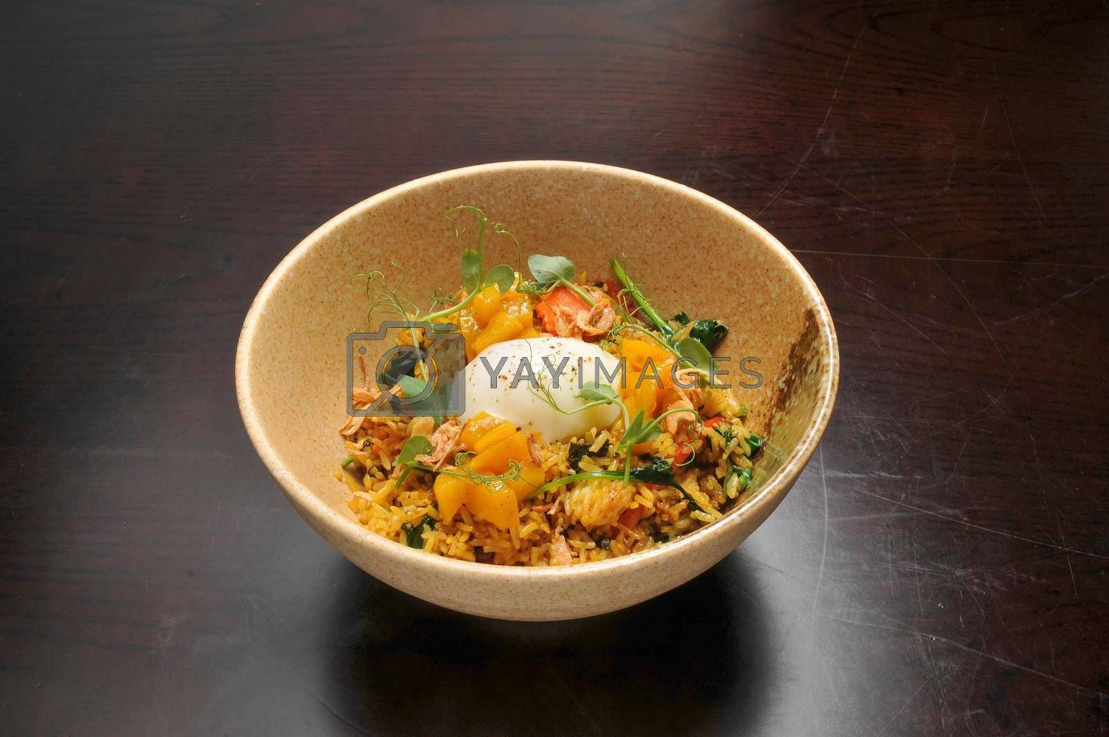 Authentic Asian food known as Jamaican Callaloo Fried Rice