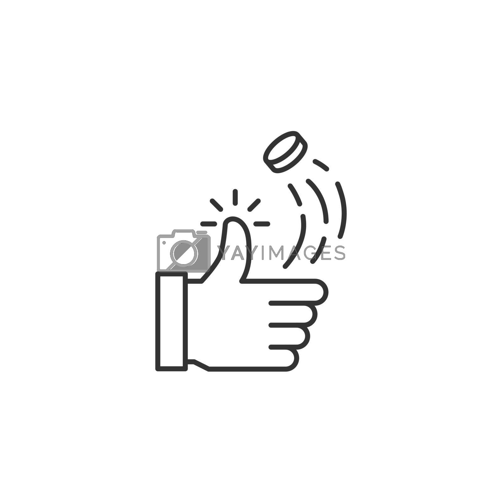 Coin Toss Related Vector Line Icon. Sign Isolated on the White Background. Editable Stroke EPS file. Vector illustration.