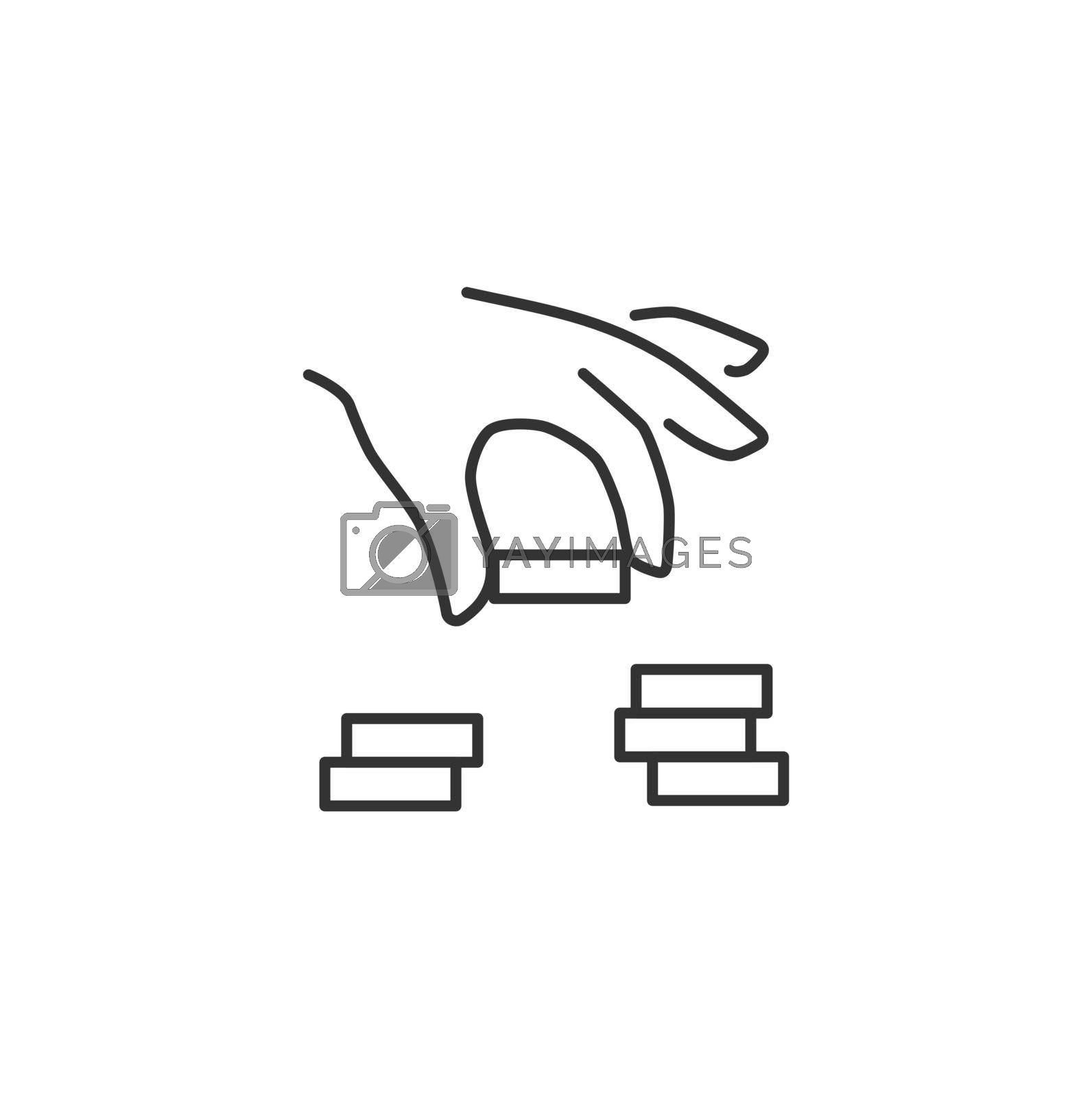 Hand Puts a Coin in a Coins Stack Related Vector Line Icon. Sign Isolated on the White Background. Editable Stroke EPS file. Vector illustration.