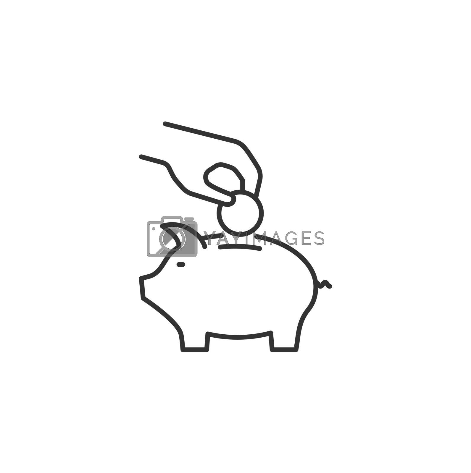Hand Puts Coin in Piggy Bank Related Vector Line Icon. Sign Isolated on the White Background. Editable Stroke EPS file. Vector illustration.