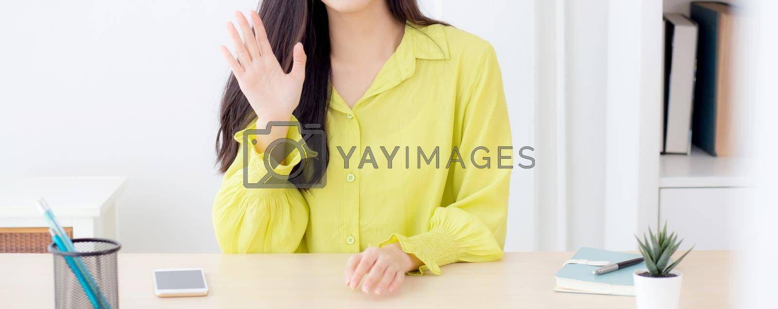 Young asian business woman video call with camera for conference online for interview at home, businesswoman meeting and talking for distance, social distancing, new normal, communication concept.