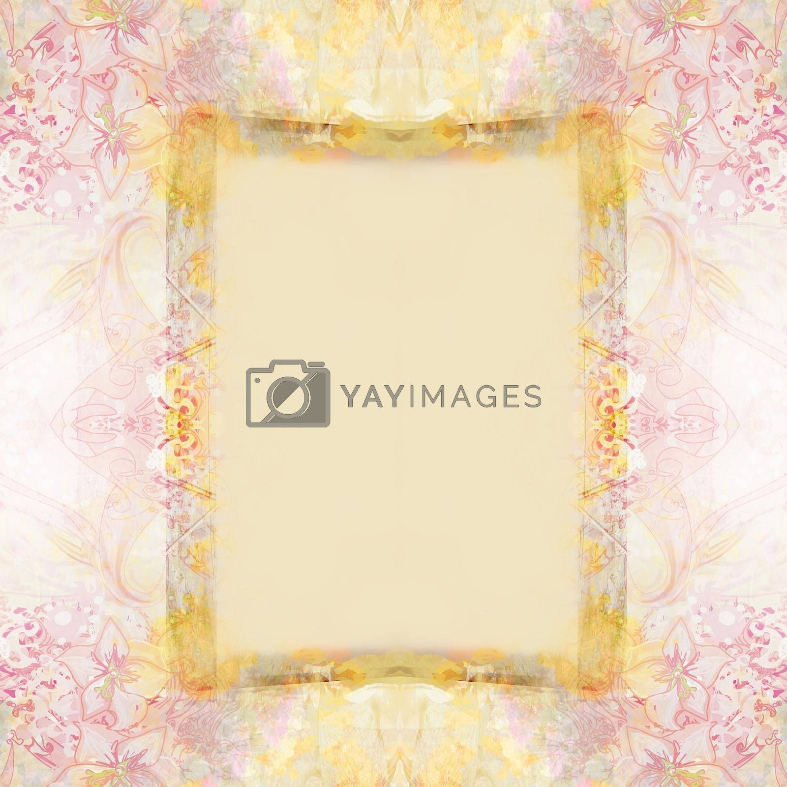 Royalty free image of Vintage Grunge Frame For Congratulation With Flowers  by JackyBrown