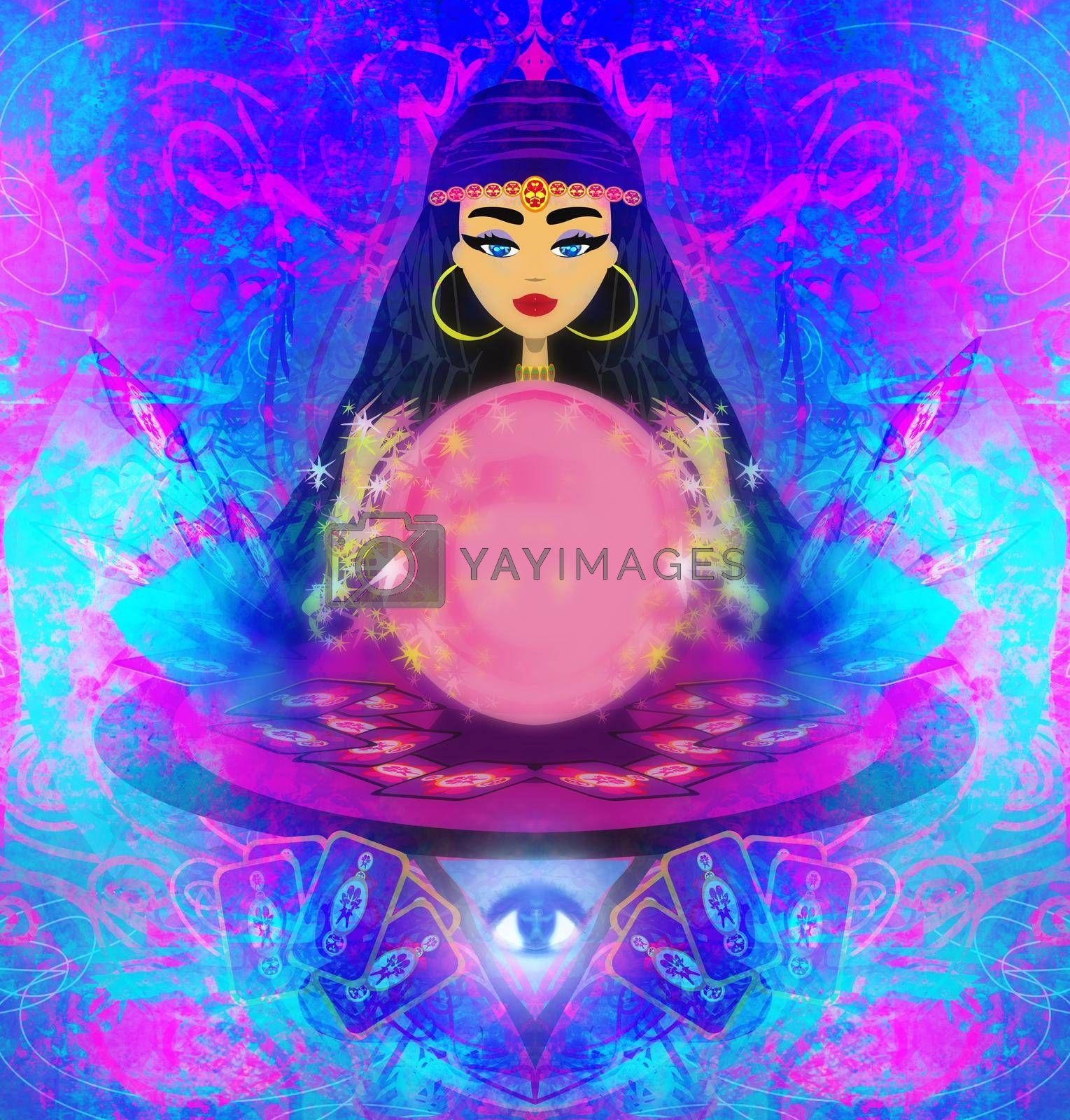 Royalty free image of Fortune teller woman with tarot cards and a crystal ball by JackyBrown