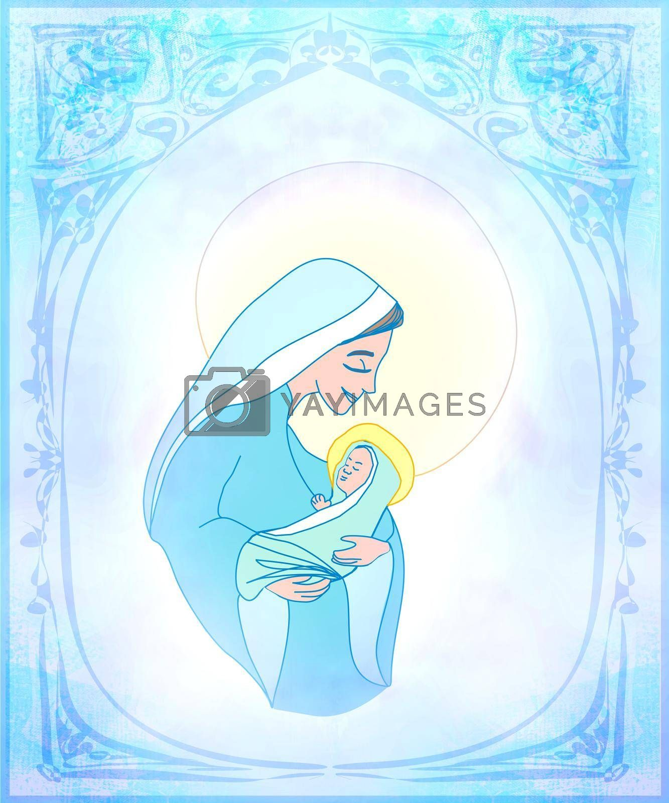 Royalty free image of Madonna and child Jesus - Christmas card by JackyBrown