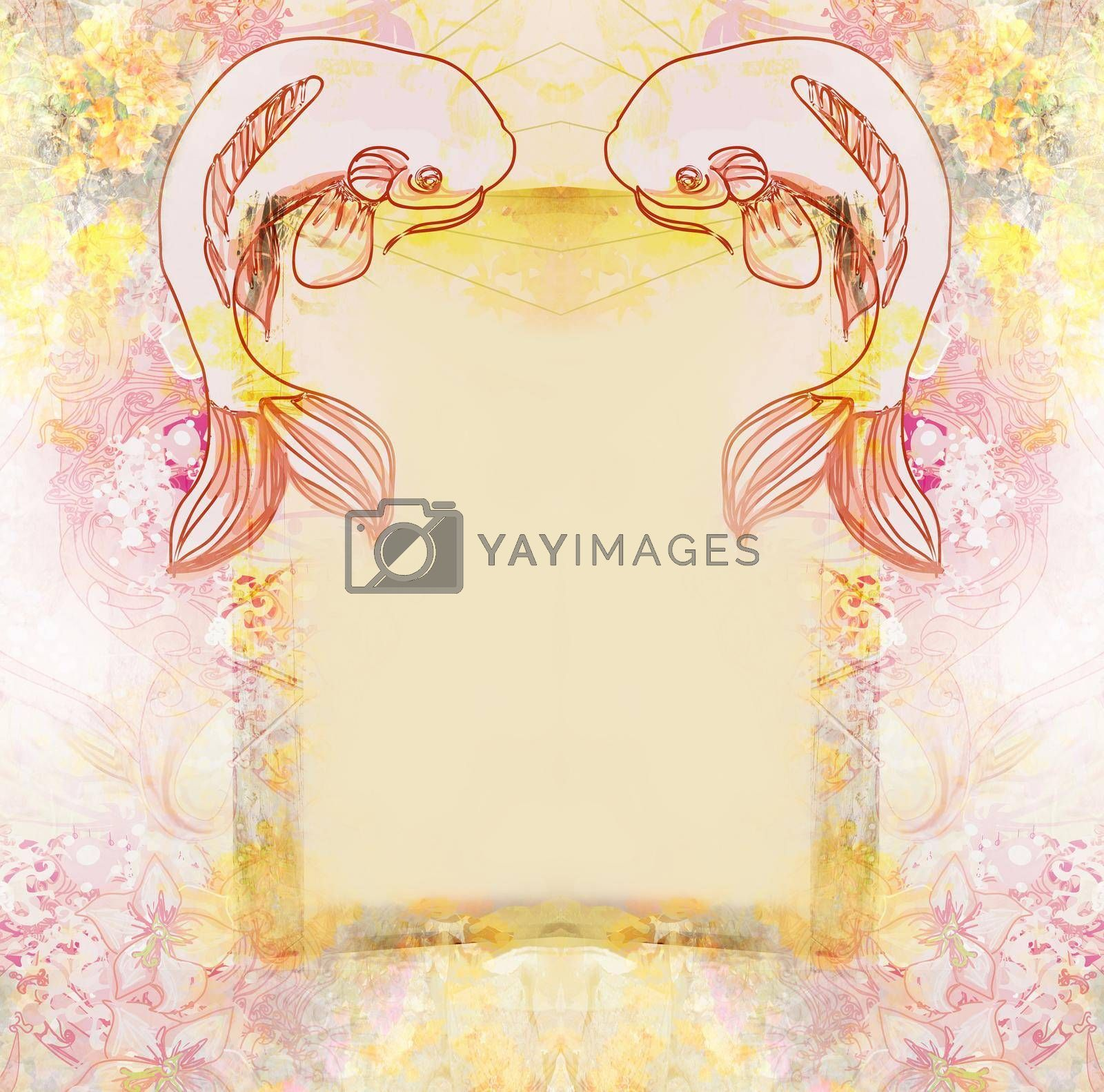 Royalty free image of Japanese koi fish decorative floral frame by JackyBrown