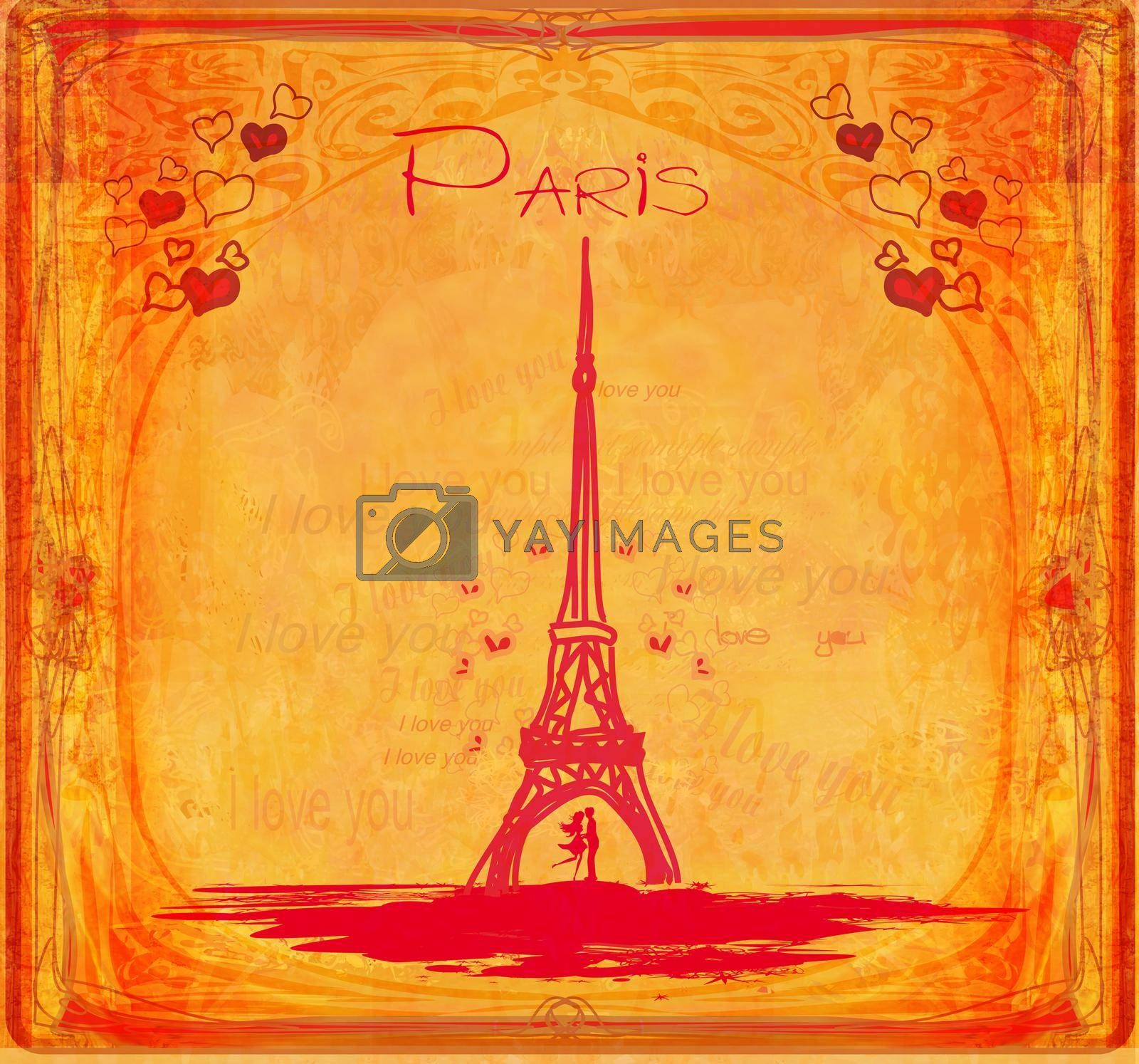Royalty free image of Romantic couple in Paris - abstract vintage card by JackyBrown