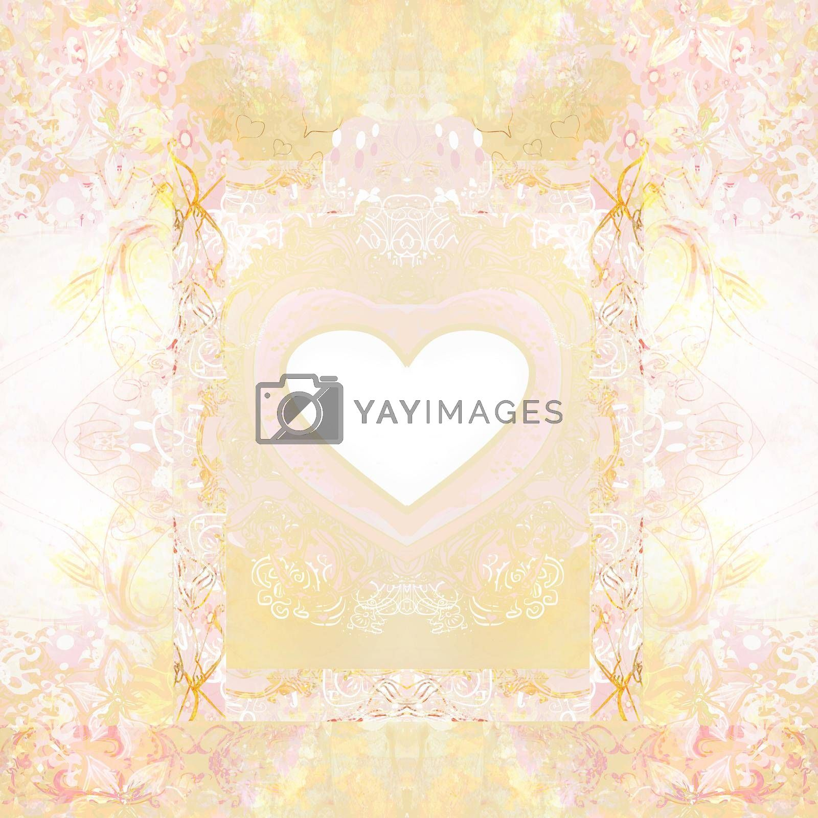Royalty free image of Vintage decorative Frame with flowers and hearts by JackyBrown