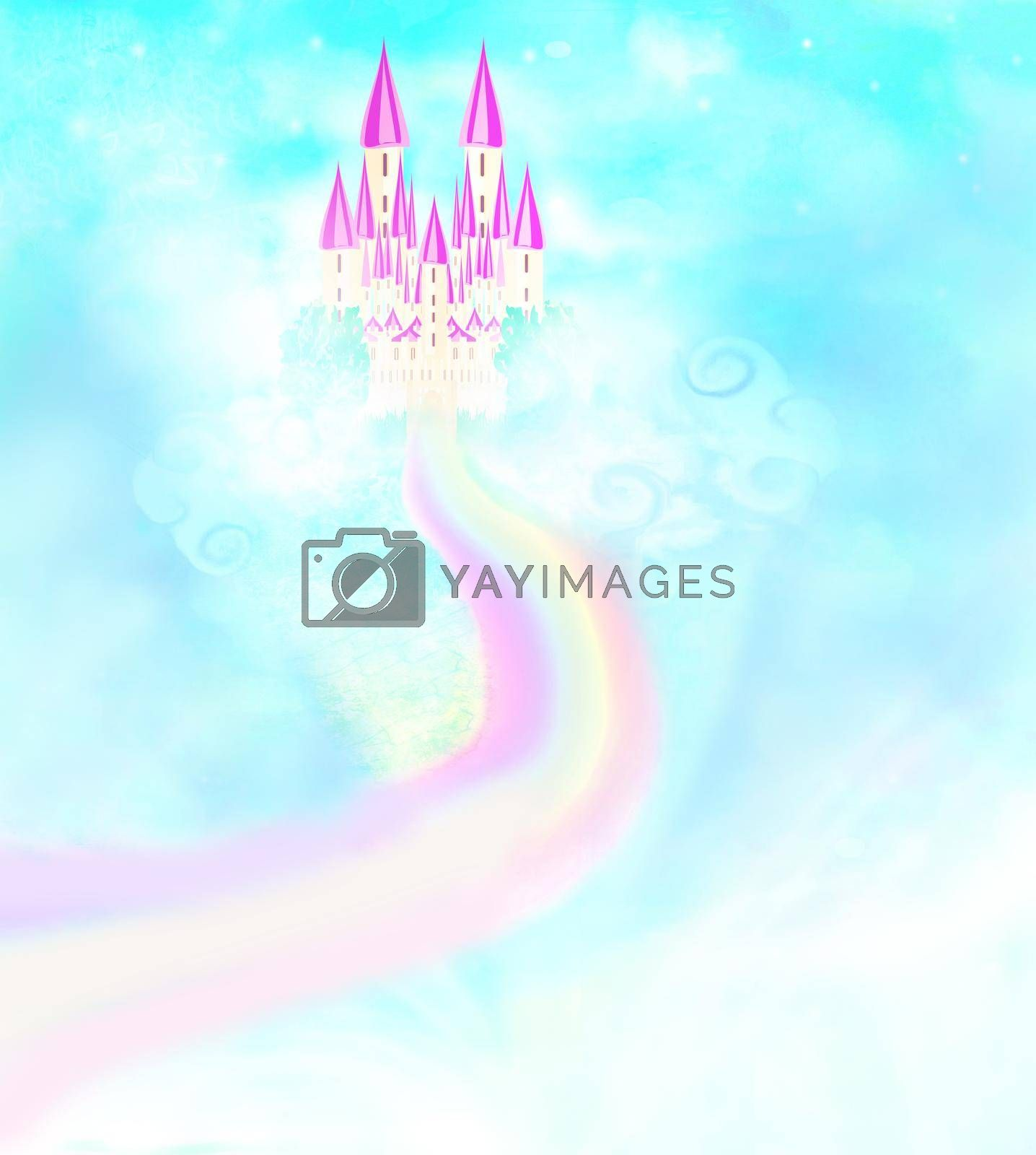 Royalty free image of Magic Fairy Tale Castle in clouds by JackyBrown