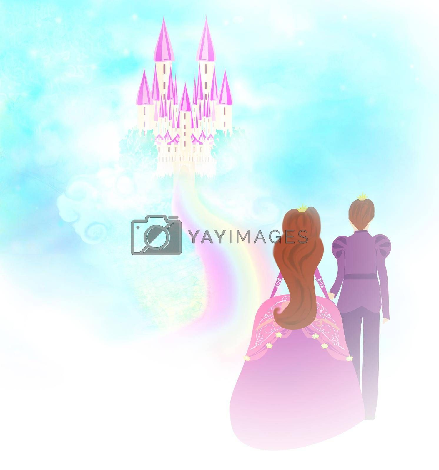 Royalty free image of beautiful Castle in clouds and princess with prince  by JackyBrown